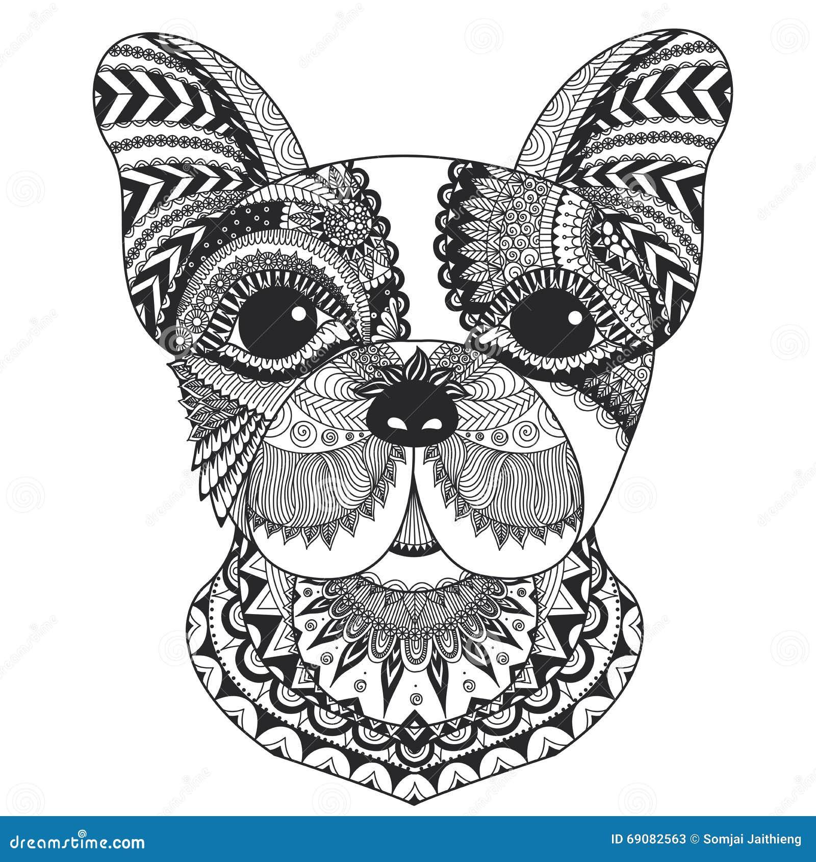 Linea Progettazione Del Bulldog Francese Di Arte Per Il Libro Da