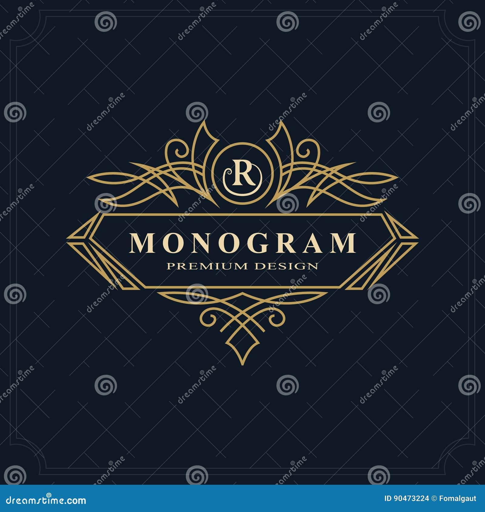 Linea progettazione di lusso del monogramma di arte, modello grazioso Bello logo elegante calligrafico Segno R dell emblema della