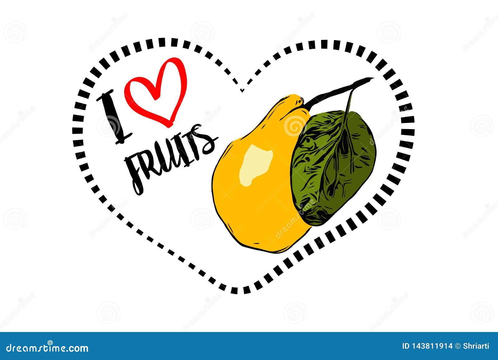 Linea punteggiata forma del cuore del nero con la pera gialla tirata del fumetto con la foglia verde dentro cuore