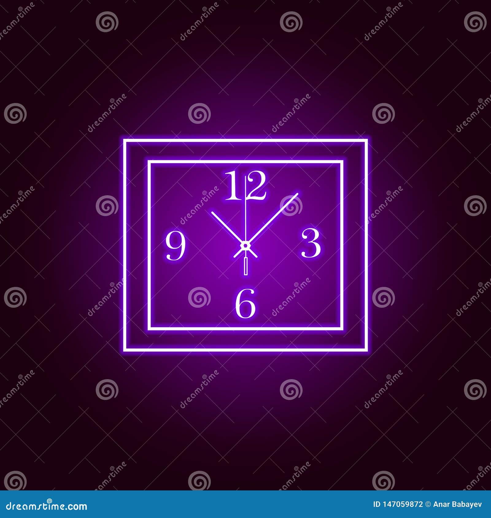 Linea quadrata icona dell orologio di parete nello stile al neon Progettazione grafica di qualit? premio Segni, raccolta di simbo