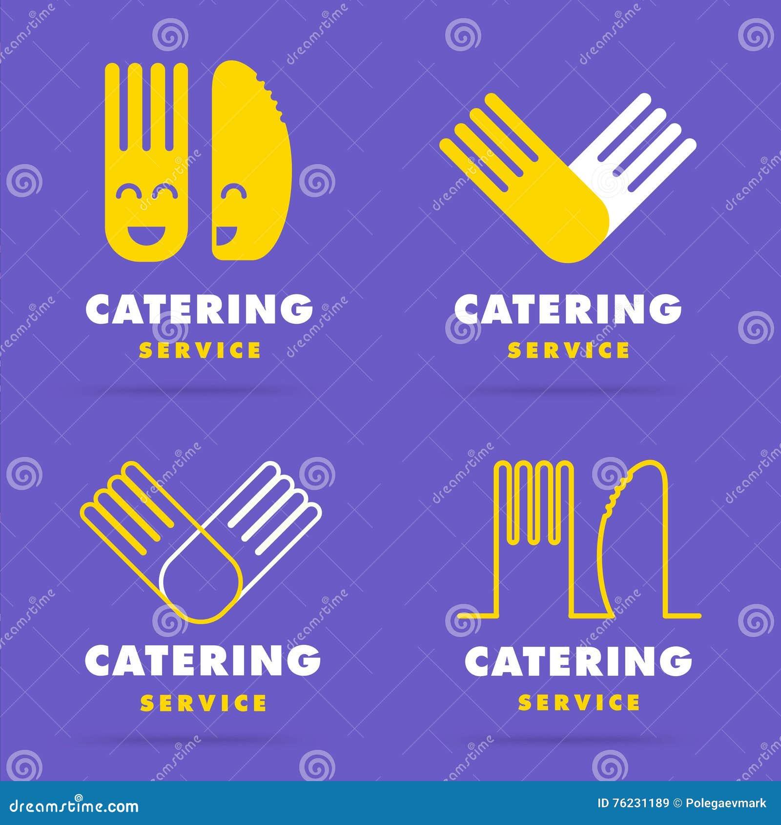 Linea regolare moderna d avanguardia logo di approvvigionamento Insieme del cooki del ristorante