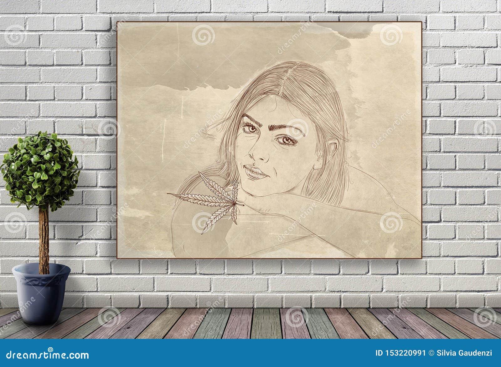 Linea ritratto di donna che appende sul muro di mattoni