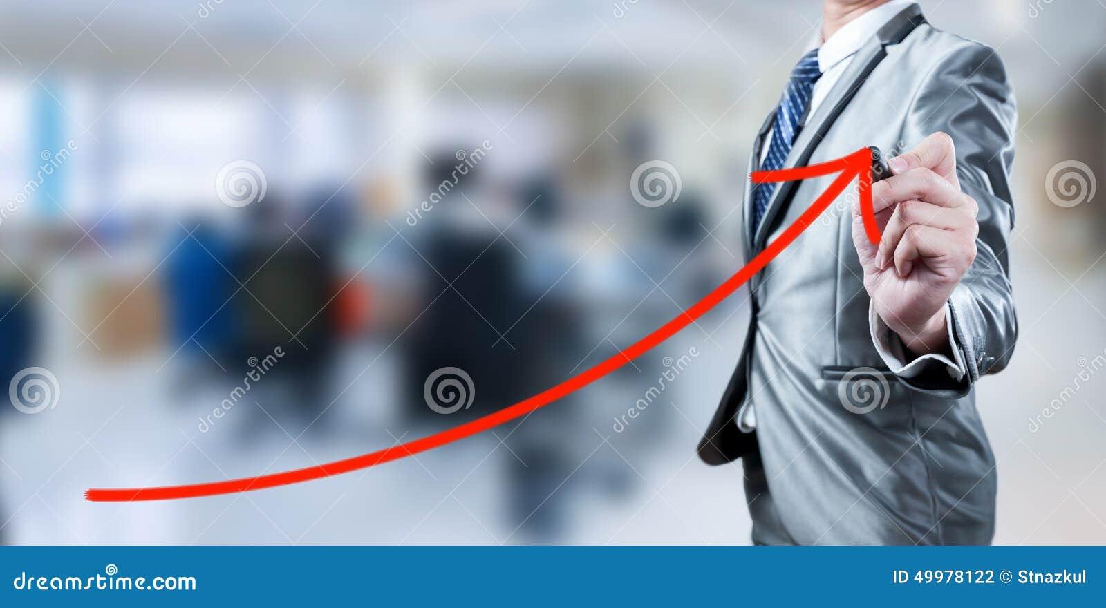 Linea rossa della curva di tiraggio dell uomo d affari, strategia aziendale