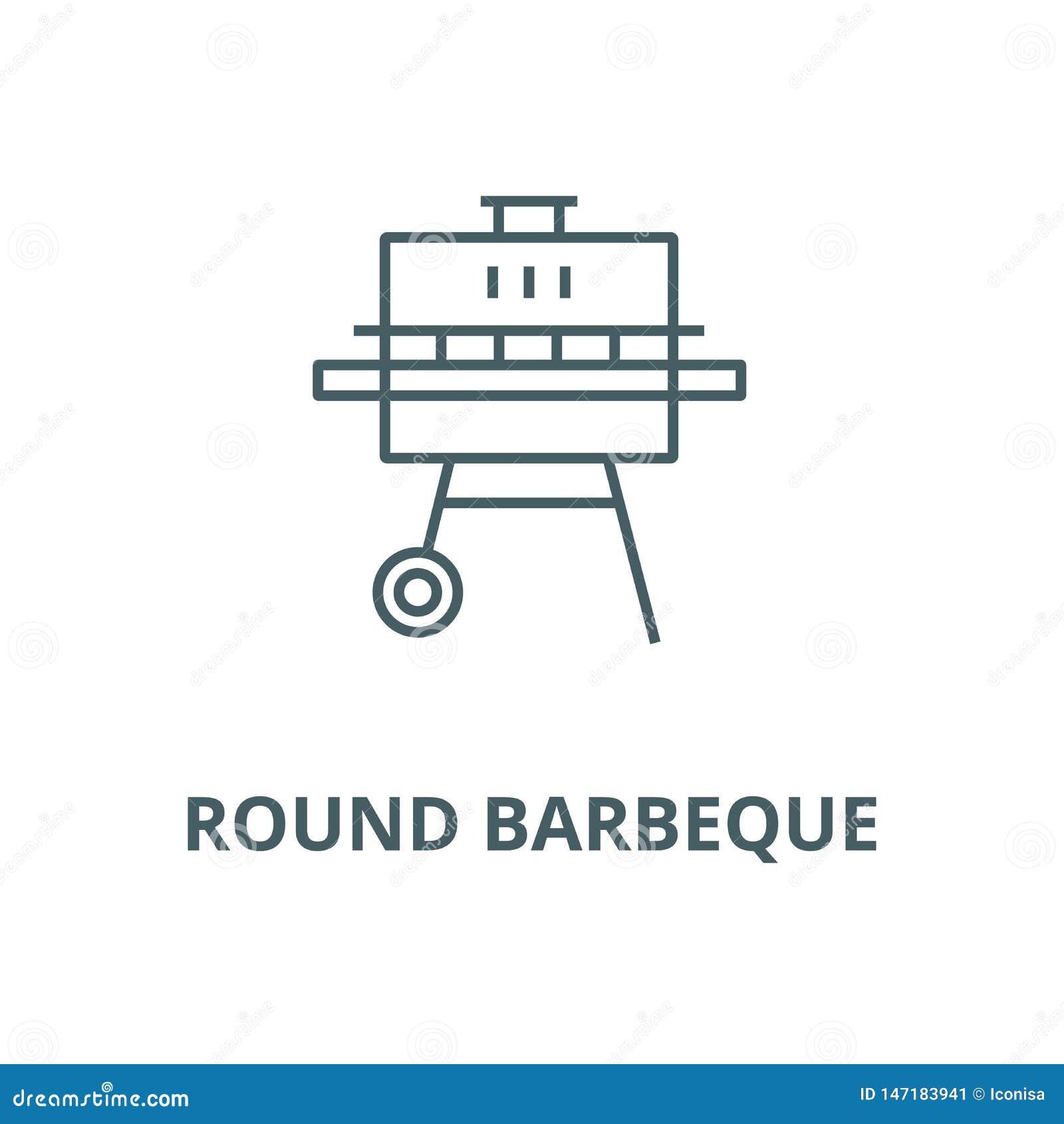 Linea rotonda icona, concetto lineare, segno del profilo, simbolo di vettore del barbecue