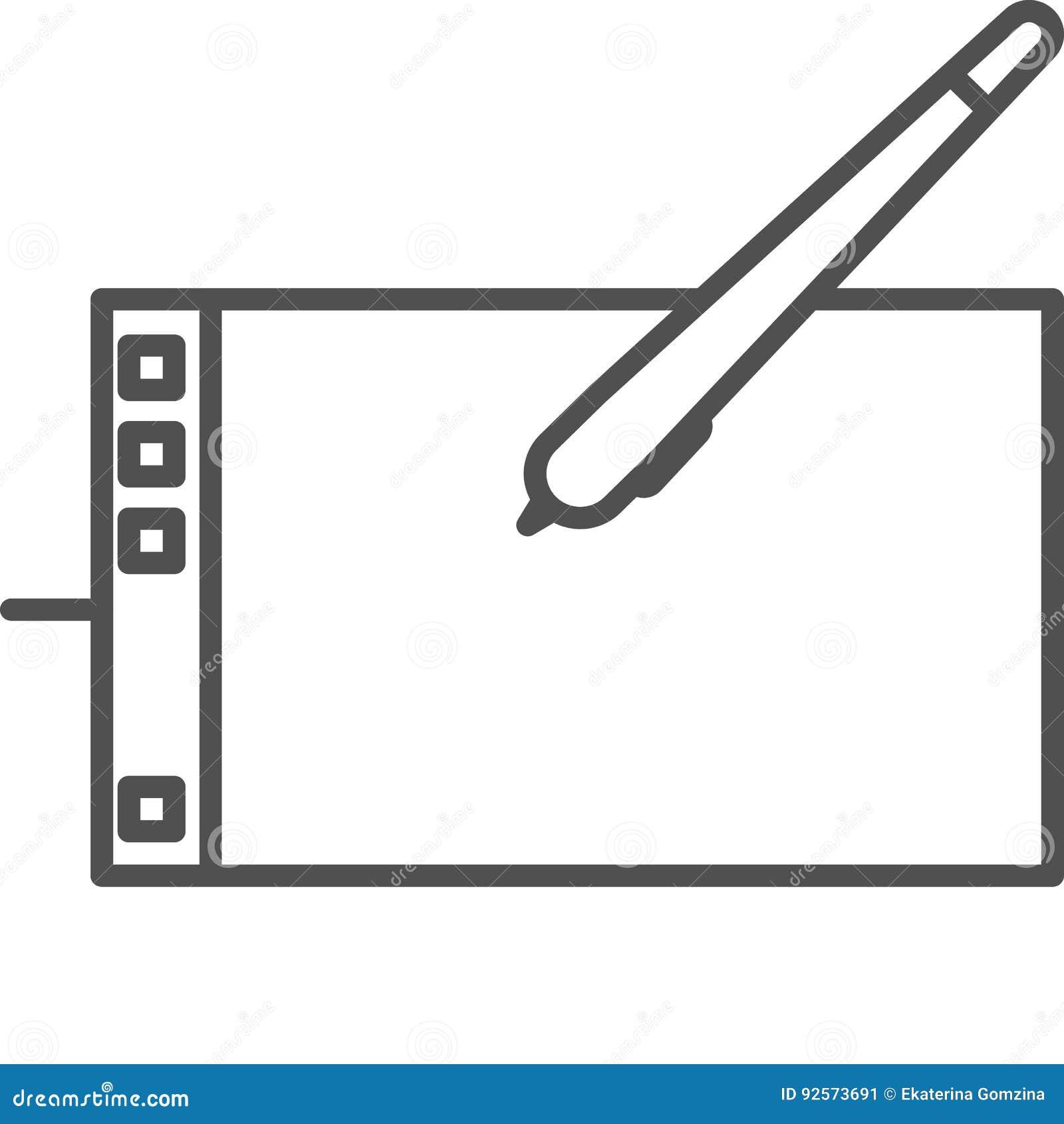 Linea semplice icona di hobby ed artistica di vettoredel artTavola del grafico per pittura digitale Linea icona di stile di ar