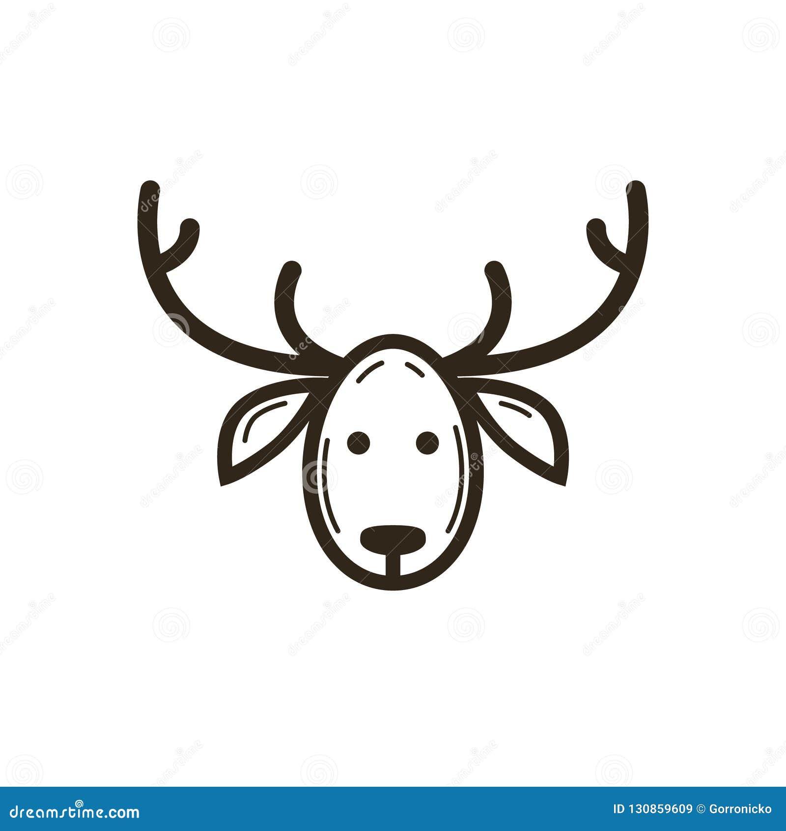 Linea semplice icona di vettore di Natale di arte della testa dei cervi