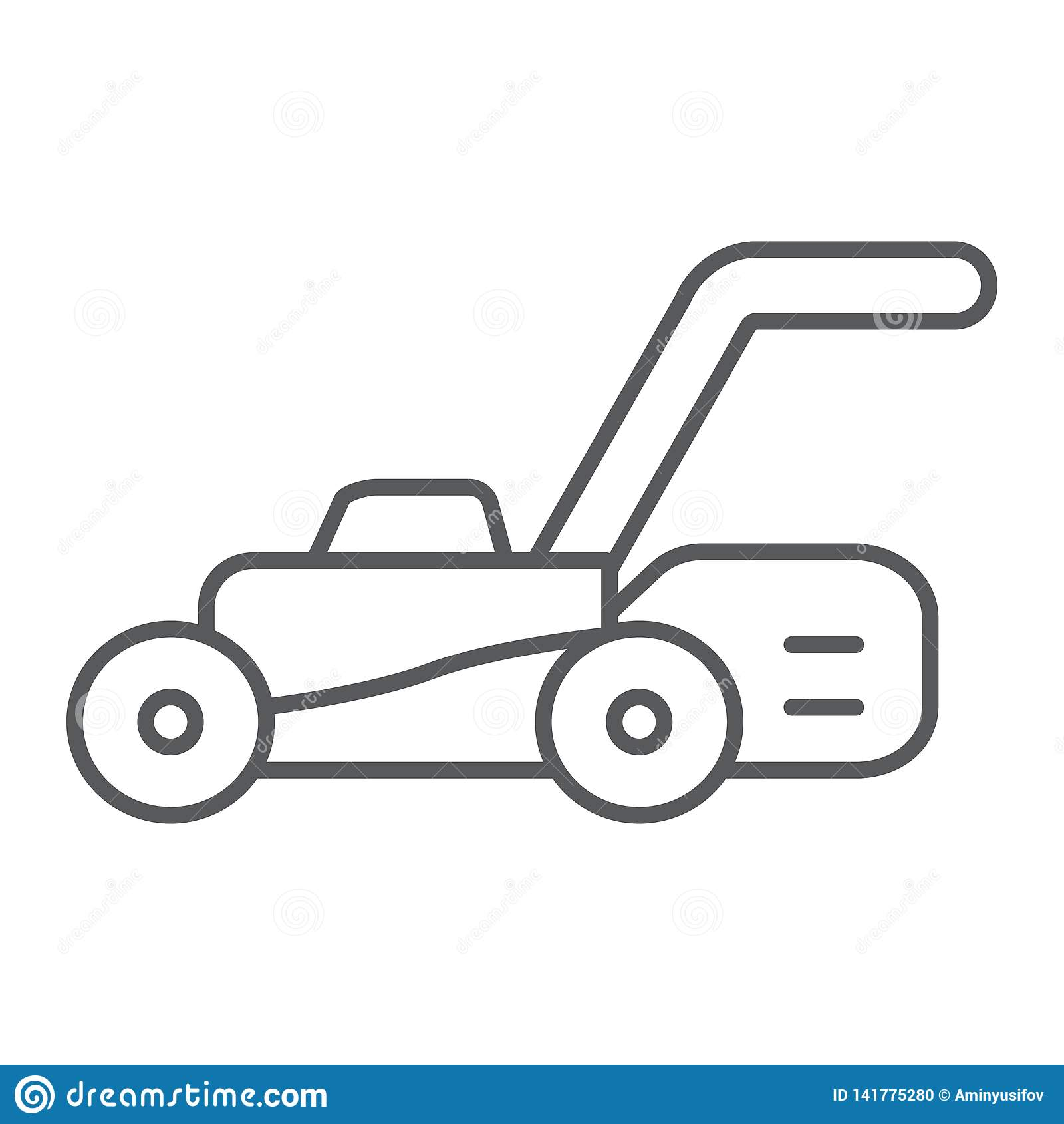 Linea sottile icona del motore del prato inglese, attrezzatura e giardino, segno della taglierina, grafica vettoriale, un modello