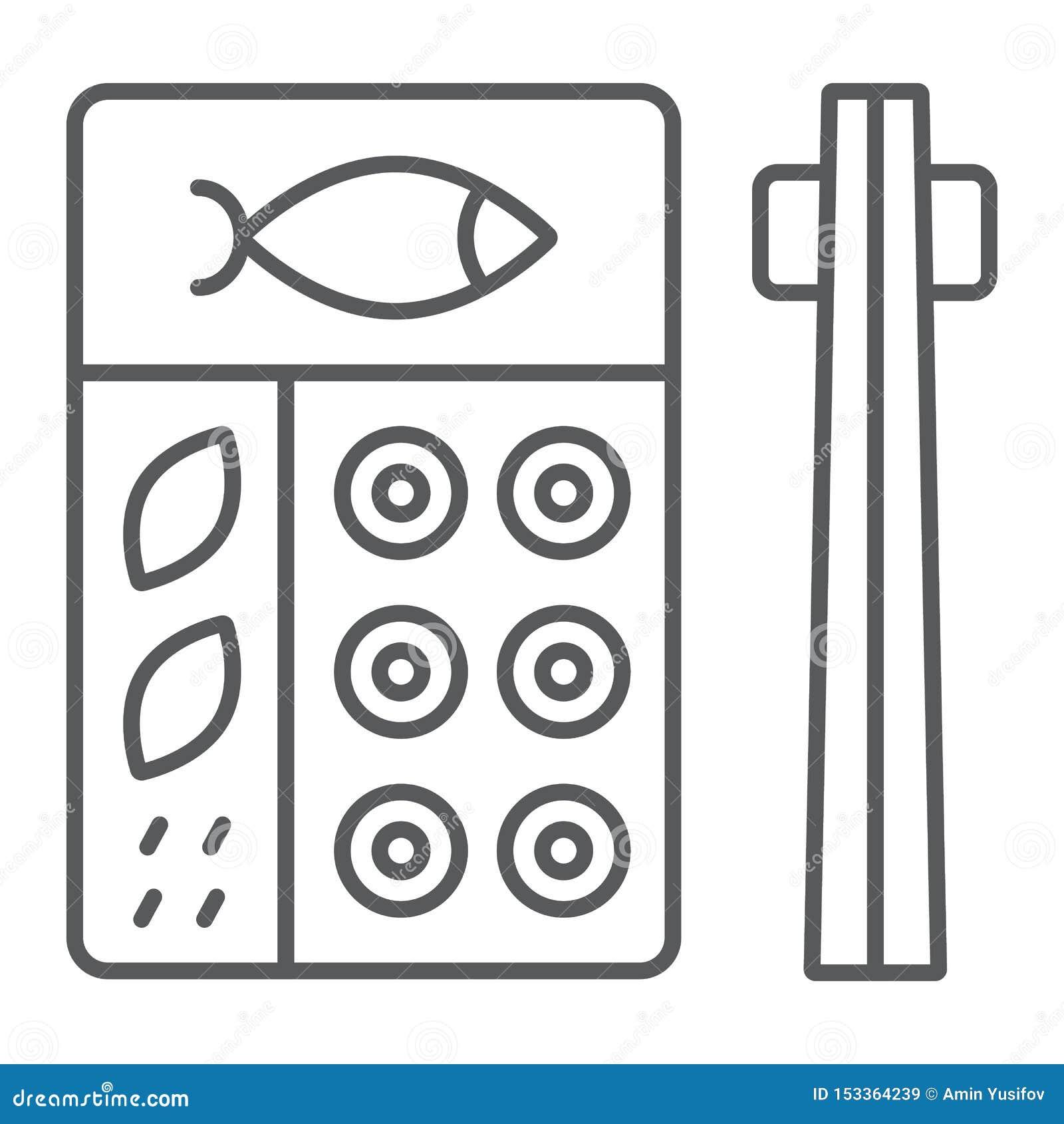Linea sottile icona di bento, asiatico ed alimento, segno giapponese della scatola di pranzo, grafica vettoriale, un modello line