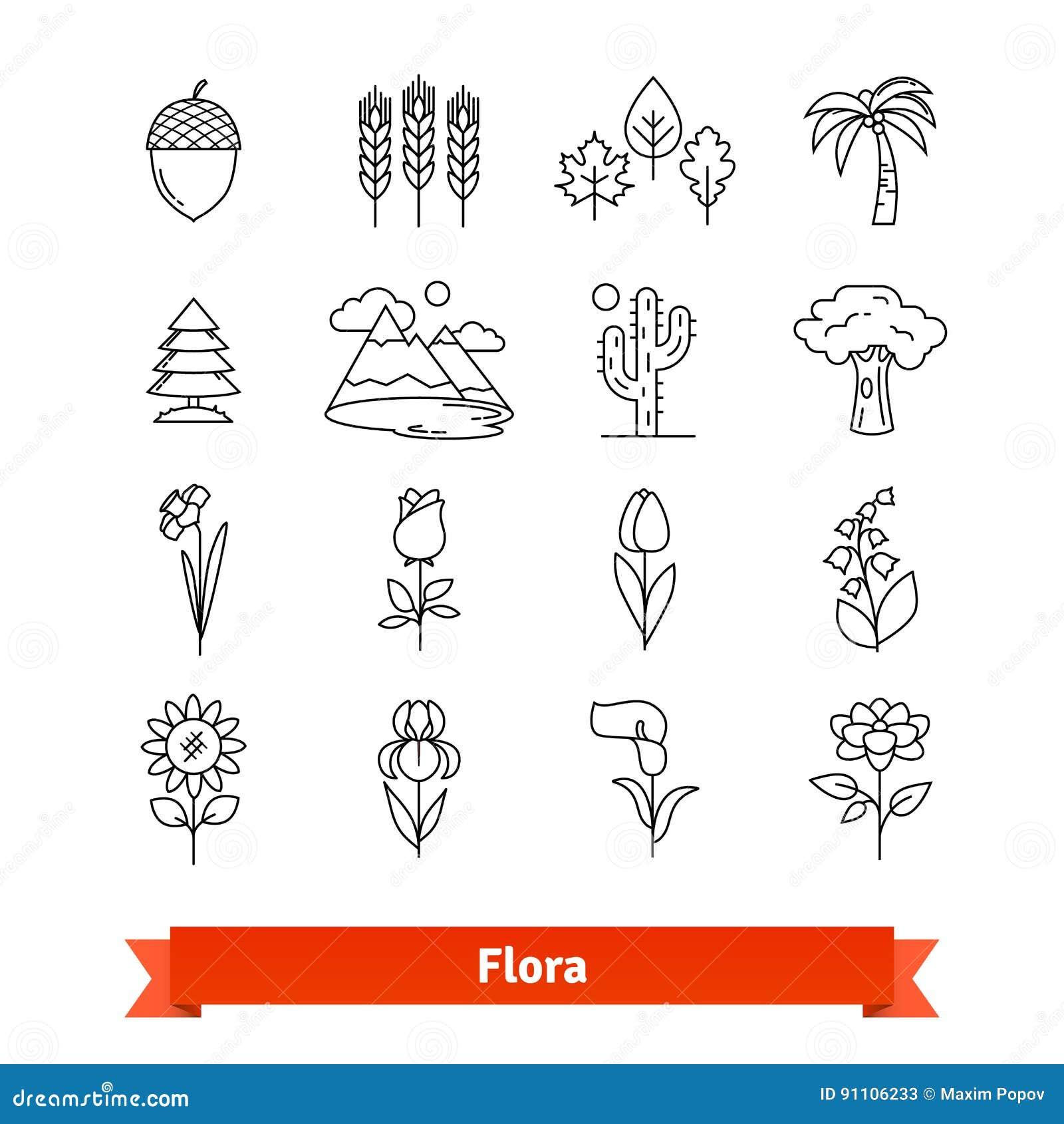 Linea sottile icone della flora di arte messe Vita delle piante