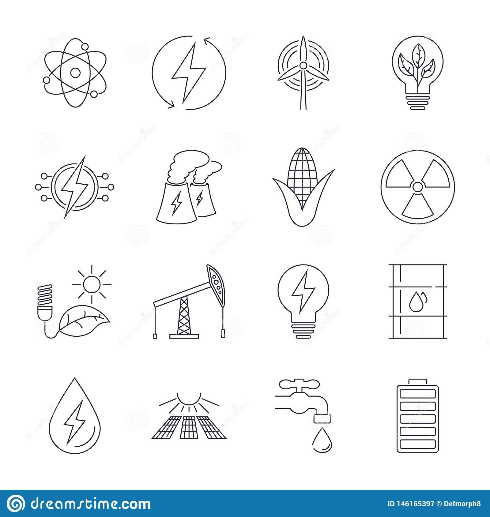 Linea sottile icone messe Icone per energia rinnovabile, tecnologia verde