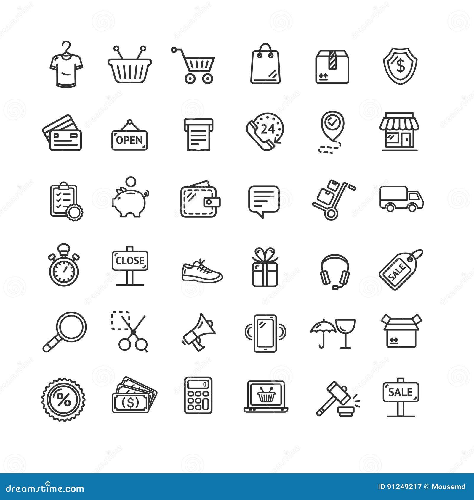 7c16392d3d Linea sottile servizio online stabilito del nero dell'icona di commercio  elettronico di acquisto per il web ed il App isolati su fondo bianco  Illustrazione ...