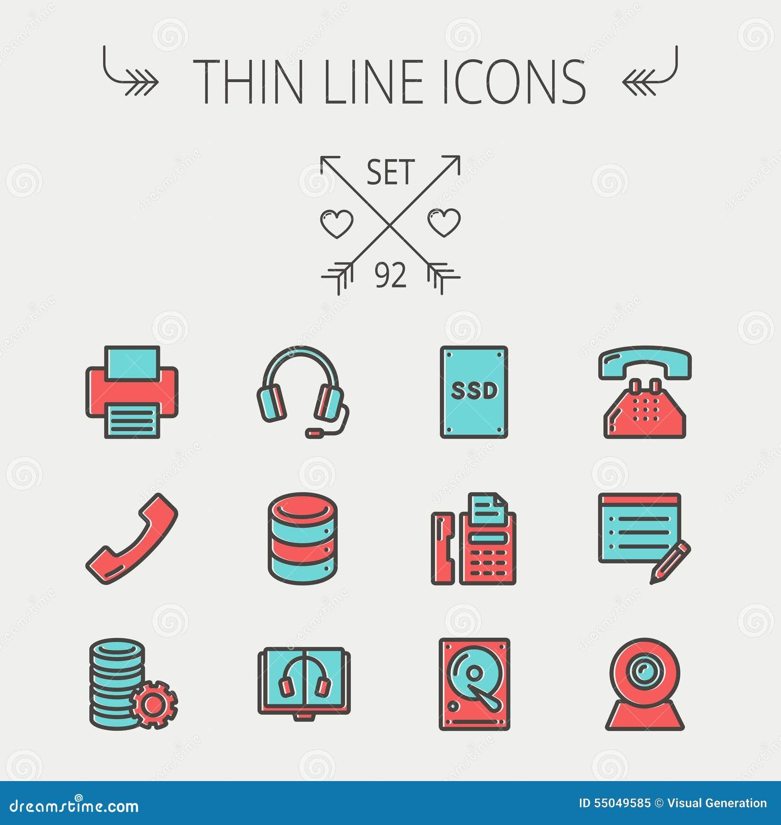 62da31bad2 La linea sottile icona della tecnologia ha messo per il web ed il cellulare  L'insieme include le cuffie, server, stampante, fax, ricevitore telefonico,  SSD, ...
