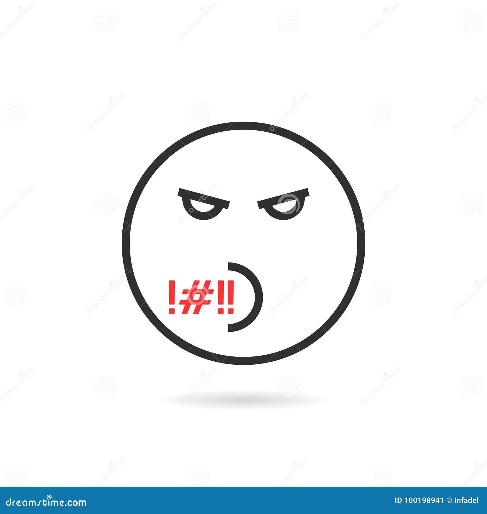 Linea Sottile Maleducata Icona Di Emoji Con Ombra Illustrazione