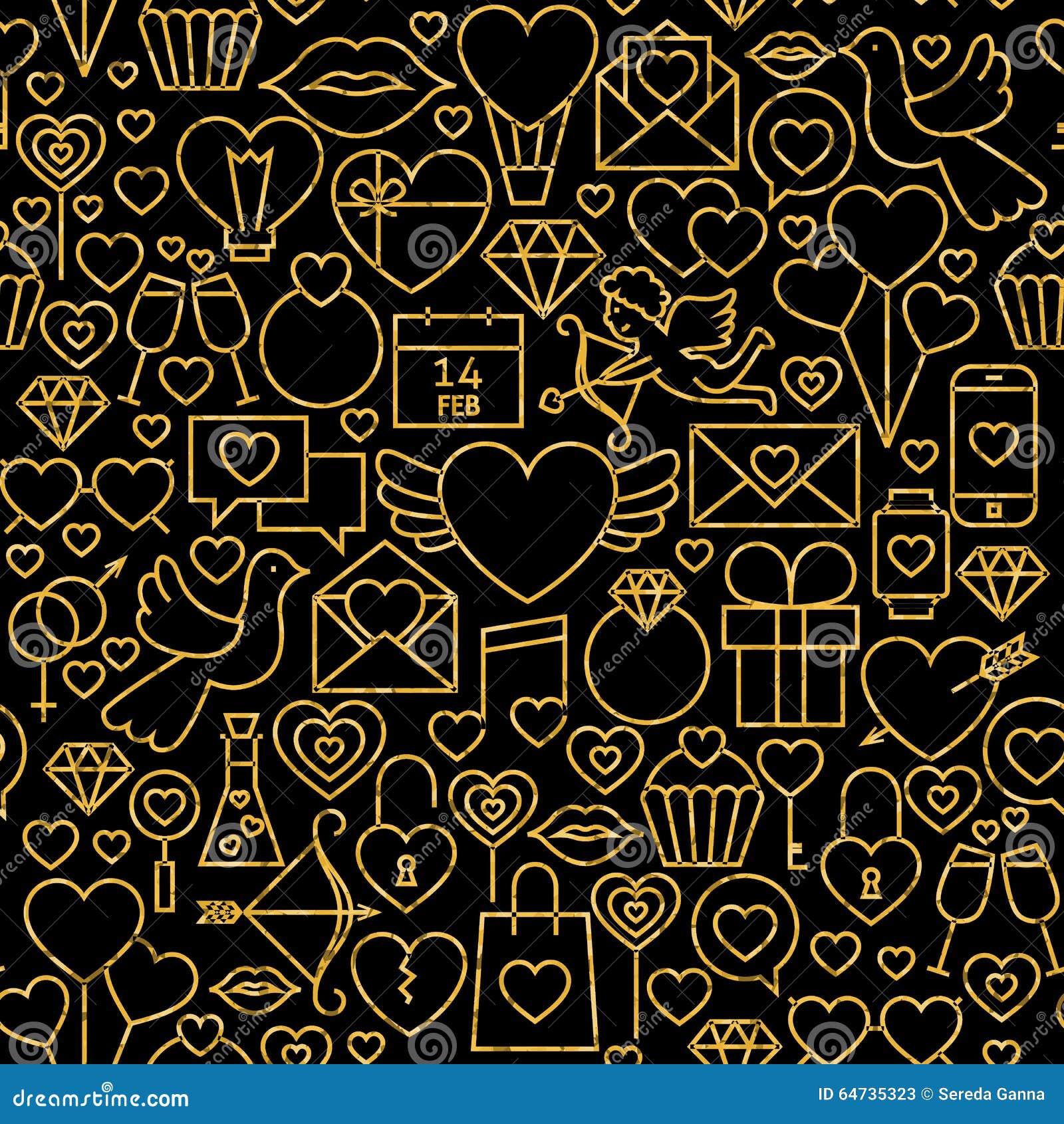 Linea sottile modello senza cuciture di giorno del ` s del biglietto di S. Valentino del nero dell oro