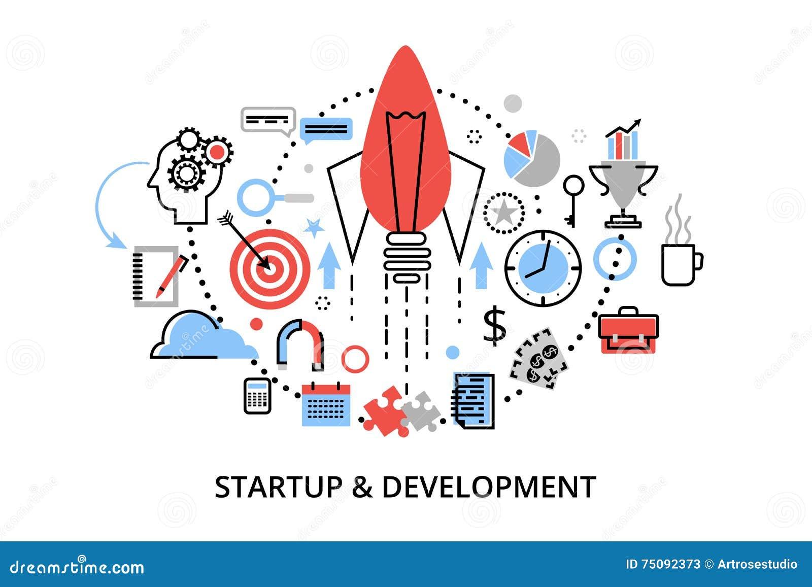 Linea sottile piana moderna illustrazione di vettore di progettazione, concetti di sviluppo startup di progetto, di strategia azi