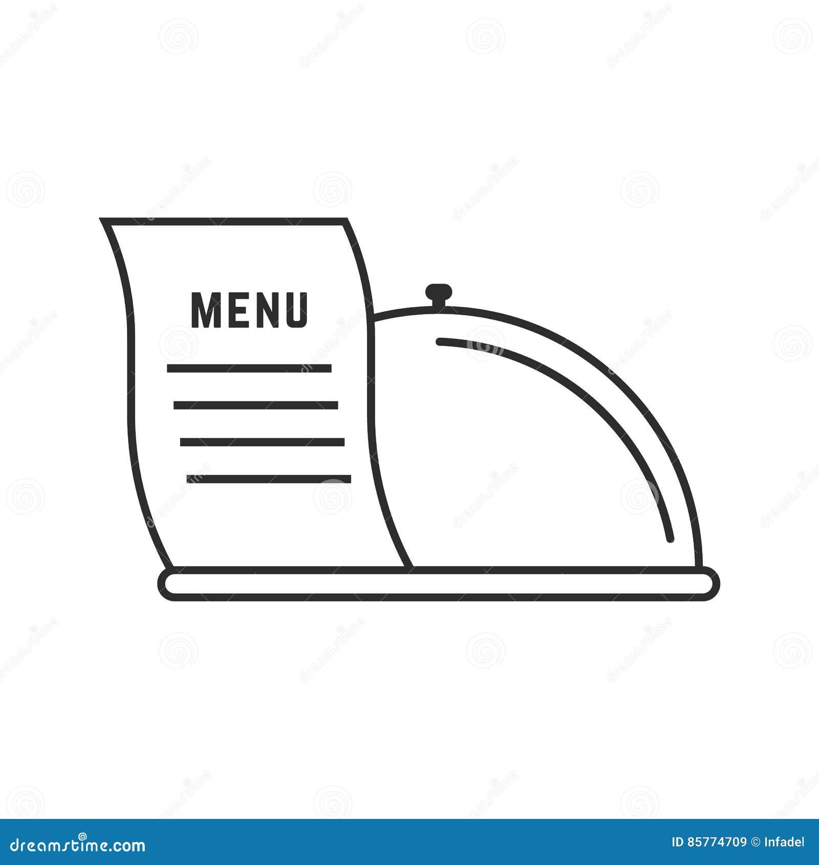 Linea sottile piatto ed icona del menu