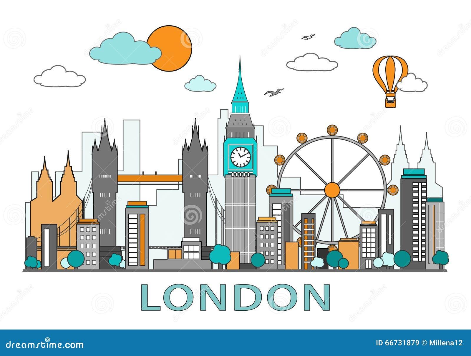 Linea sottile progettazione piana della città di Londra Illustrazione moderna di vettore dell orizzonte di Londra, isolata