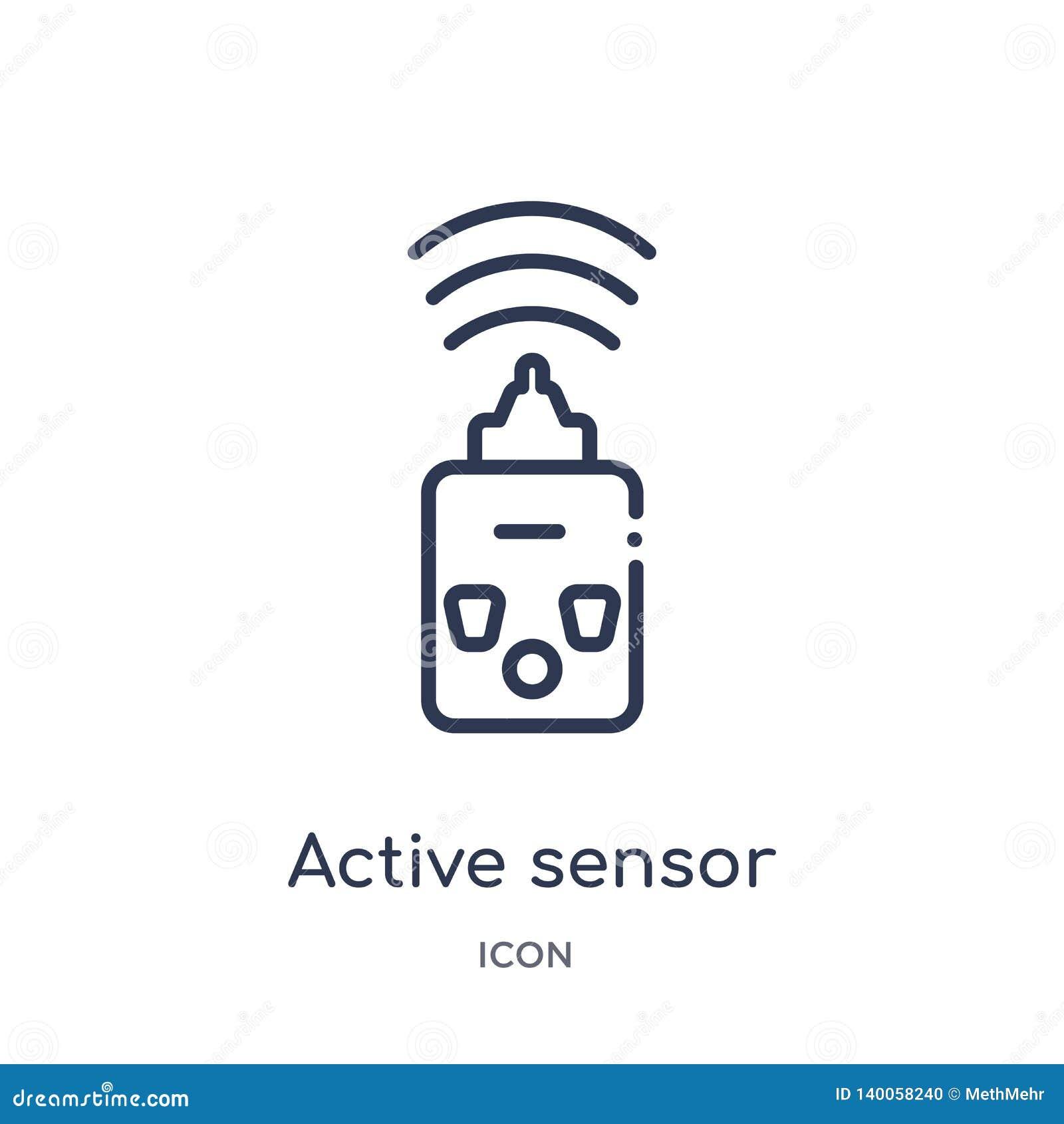 Lineair actieve sensorpictogram van Algemene overzichtsinzameling Het dunne pictogram van de lijn actieve die sensor op witte ach
