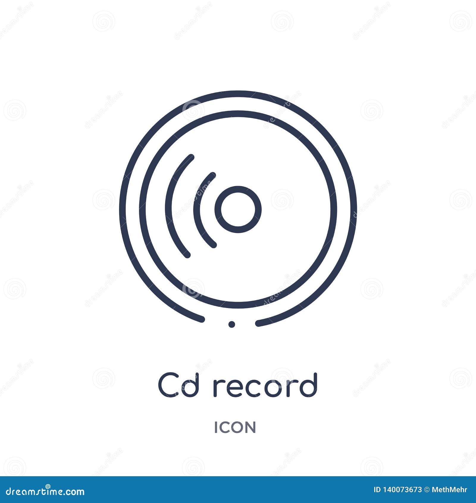 Lineair CD-verslagpictogram van Algemene overzichtsinzameling Dun die het verslagpictogram van lijncd op witte achtergrond wordt