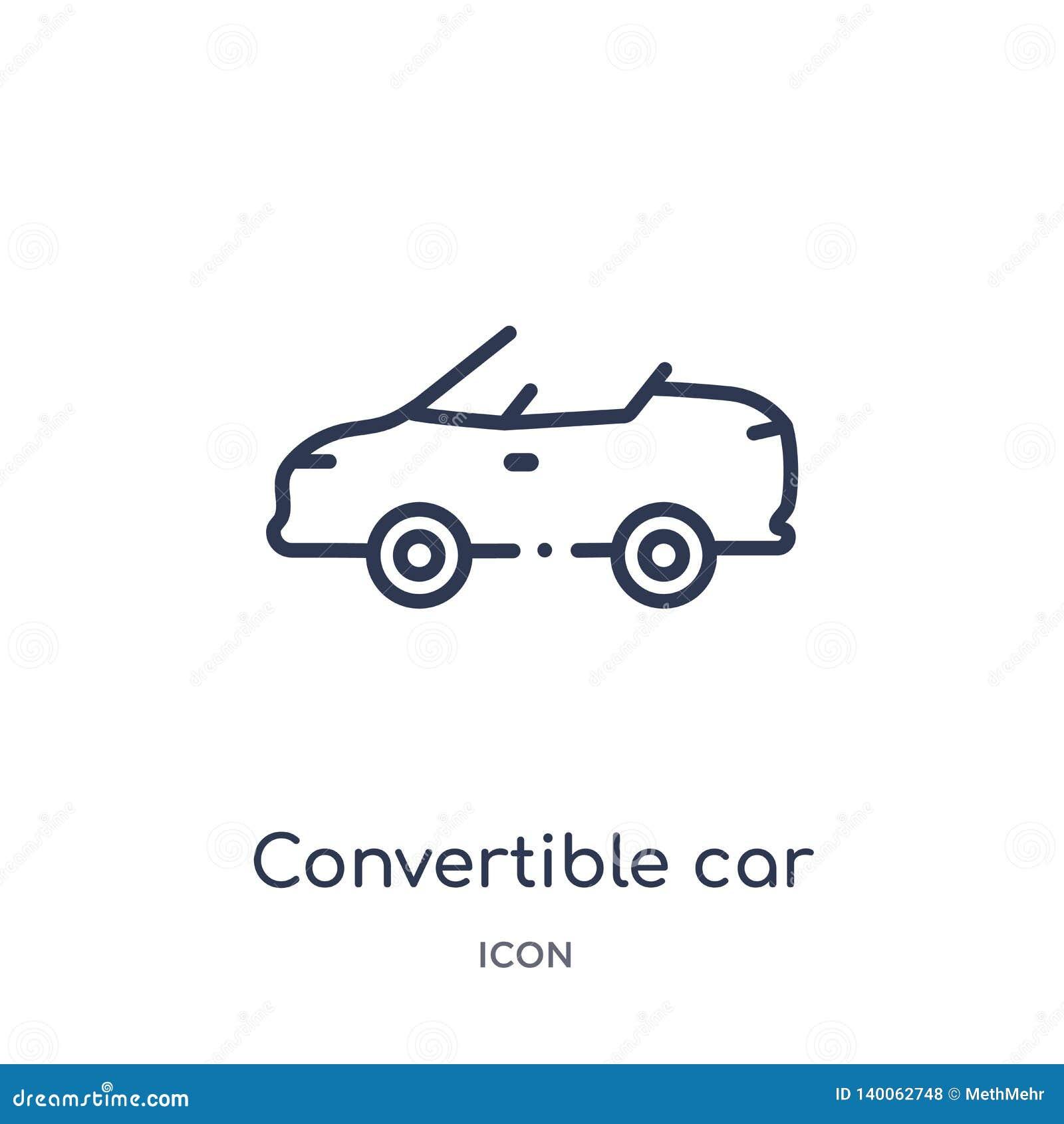 Lineair convertibel autopictogram van Mechanicons-overzichtsinzameling Het dunne pictogram van de lijn convertibele die auto op w