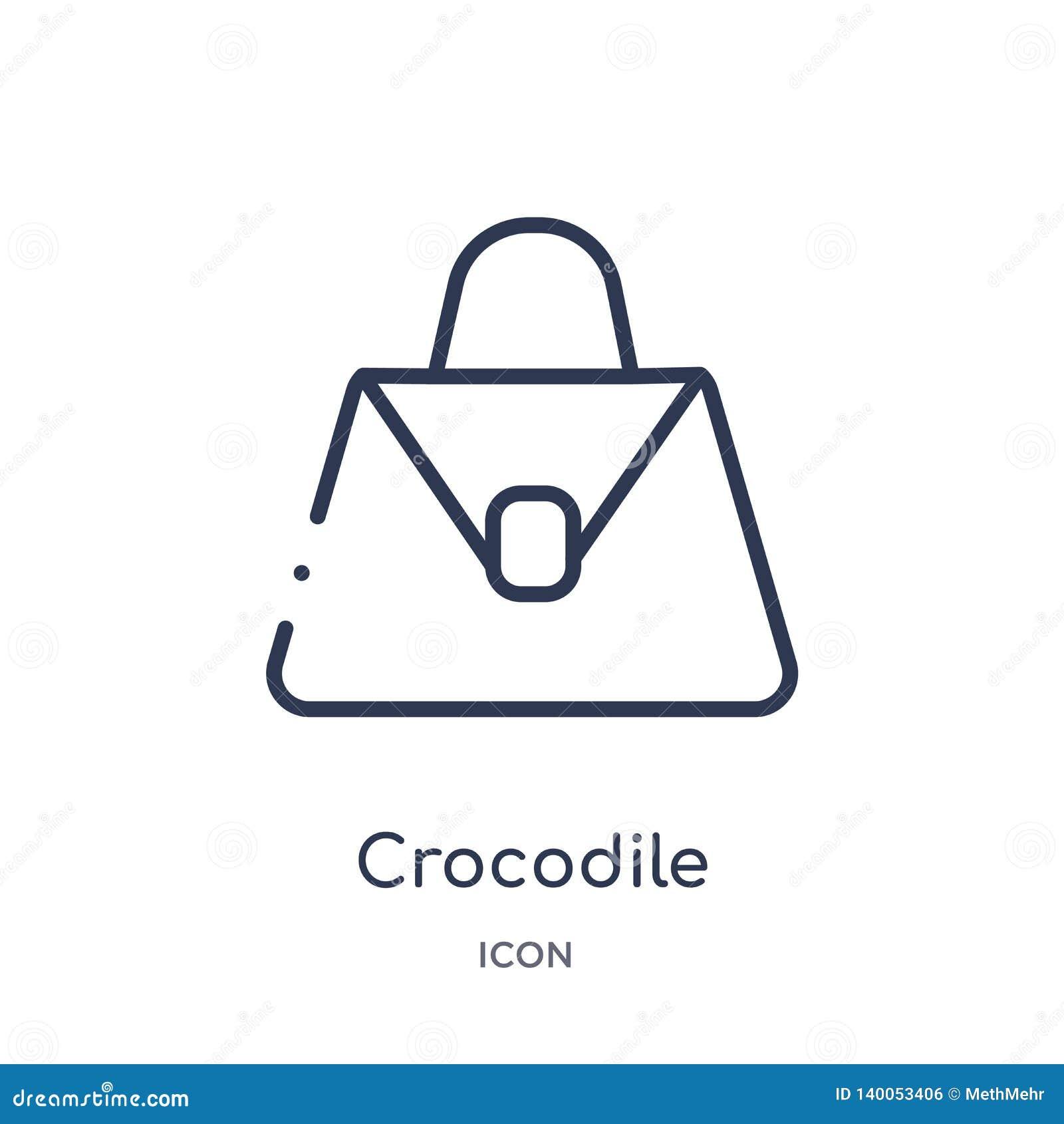 Lineair de zakpictogram van het krokodilleer van de inzameling van het Cultuuroverzicht De dunne die vector van de het leerzak va