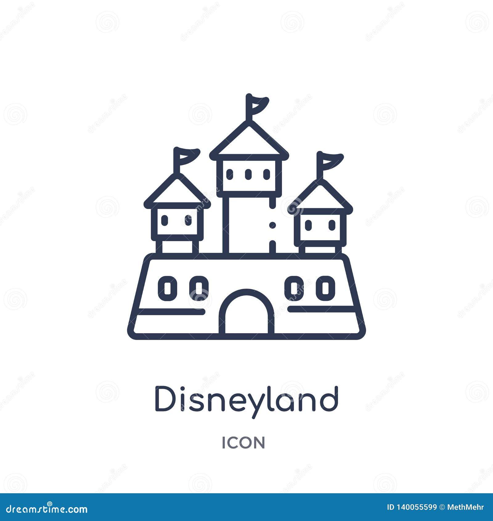 Lineair disneyland pictogram van Vermaak en de inzameling van het arcadeoverzicht Dunne die lijndisneyland vector op witte achter