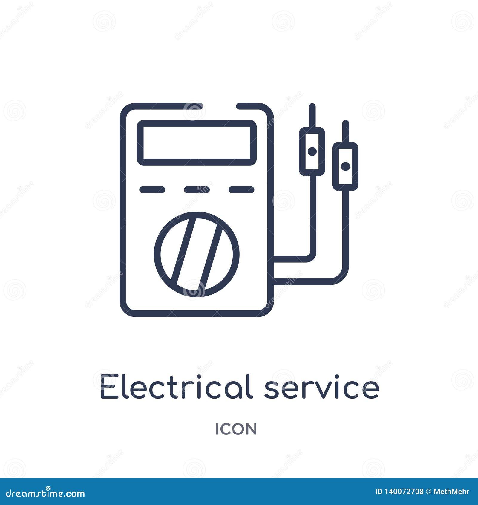 Lineair elektro de dienstpictogram van de inzameling van het Elektronikaoverzicht Het dunne pictogram van de lijn elektrodienst d