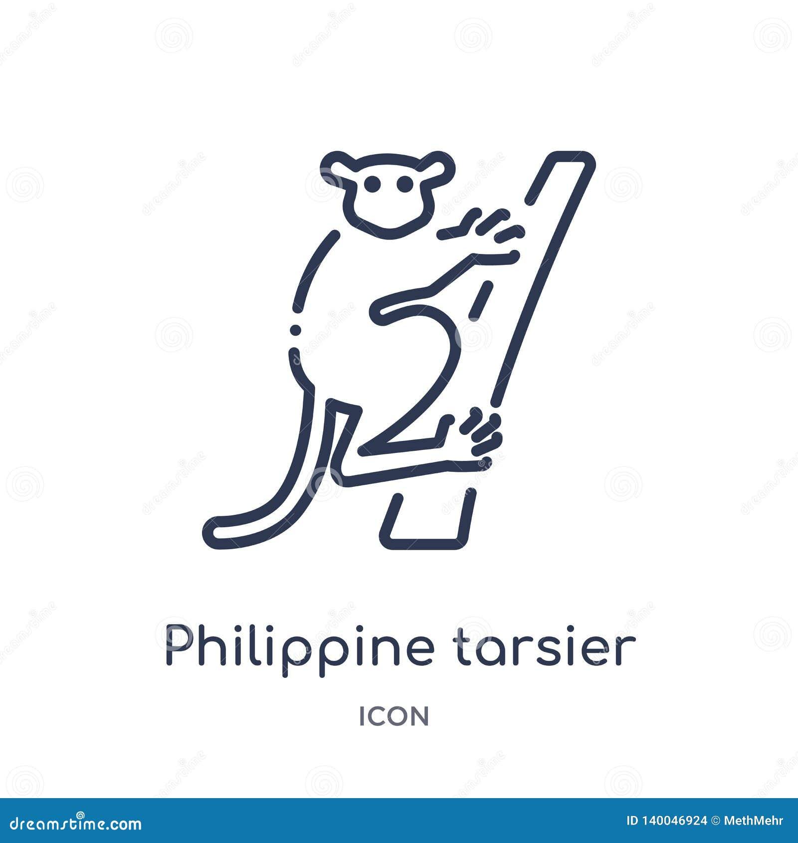Lineair Filippijns meer tarsier pictogram van Dieren en de inzameling van het het wildoverzicht Dunne lijn Filippijnse meer tarsi