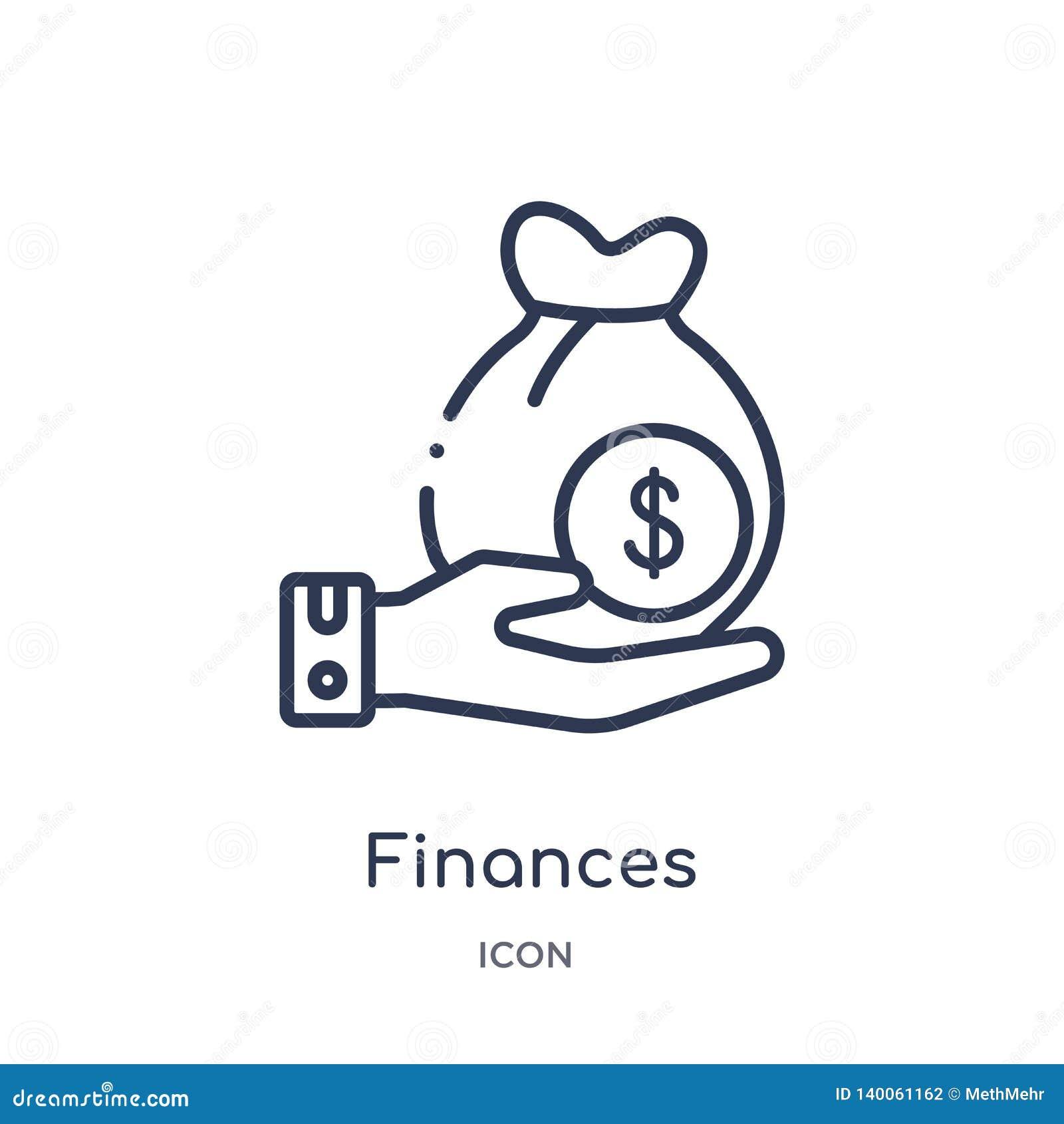 Lineair financiënpictogram van de inzameling van het Verzekeringsoverzicht De dunne die lijn financiert pictogram op witte achter