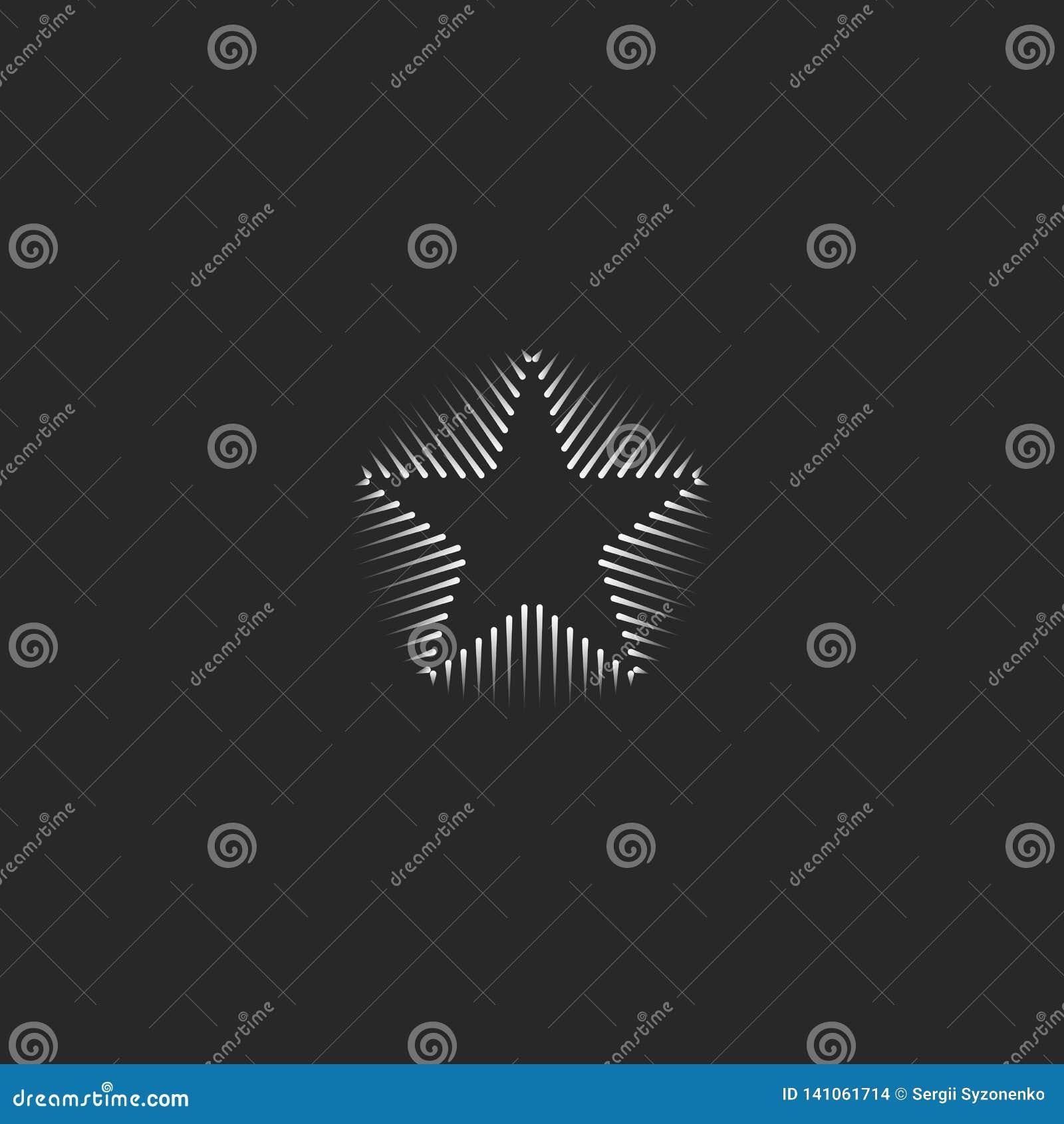 Lineair het adreskaartjemalplaatje van het sterembleem Hipster zwart-witte minimale vorm voor Webontwerp De geometrische abstract