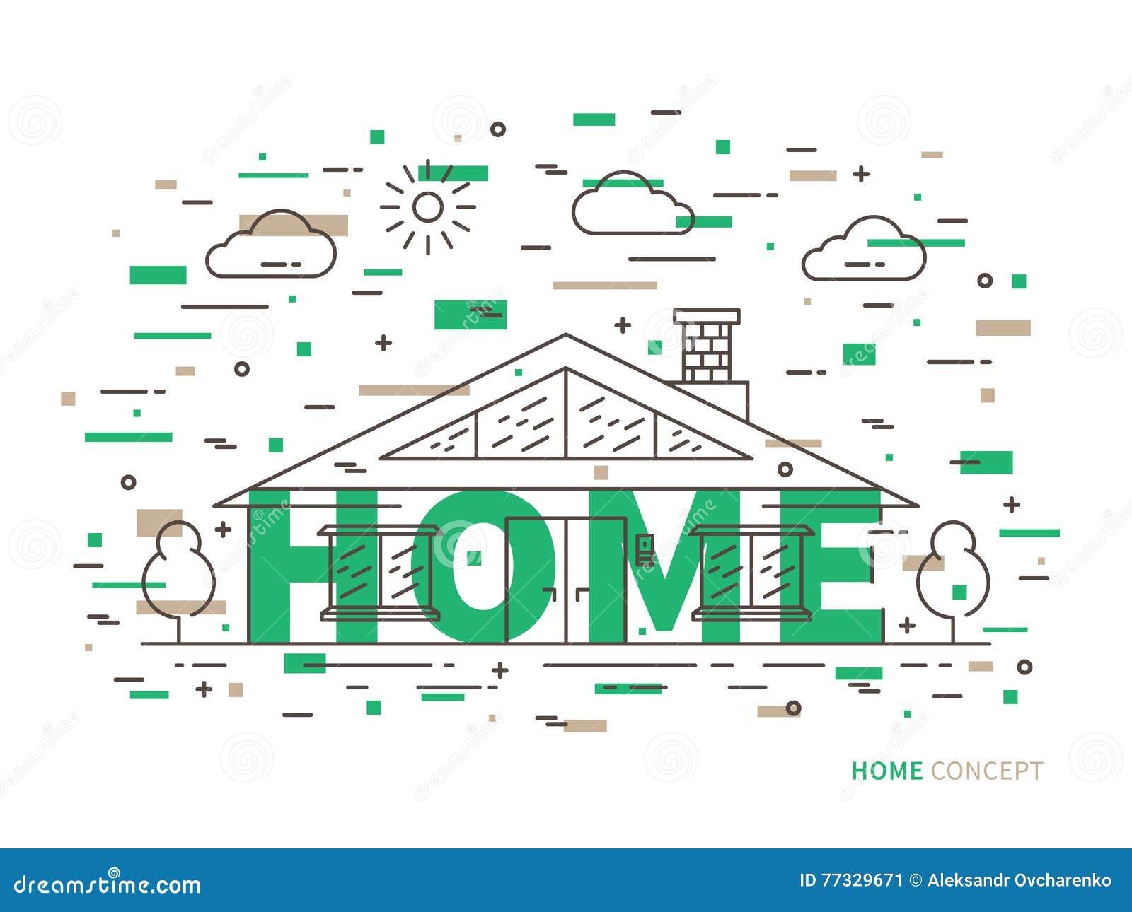 Lineair huisplattelandshuisje, herenhuis vlakke illustratie