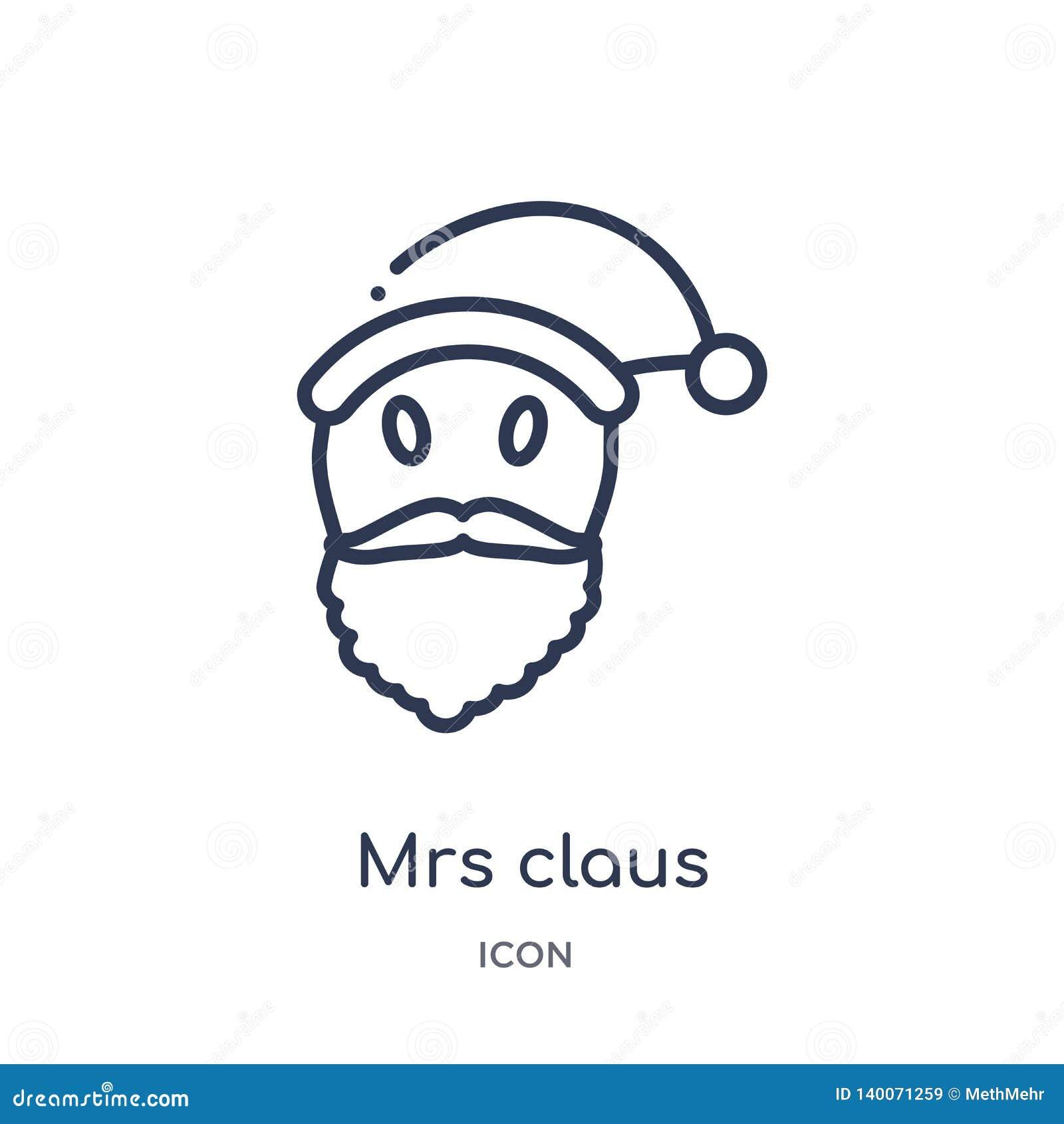 Lineair Mevr.claus pictogram van de inzameling van het Kerstmisoverzicht Dunne die lijn Mevr.claus pictogram op witte achtergrond