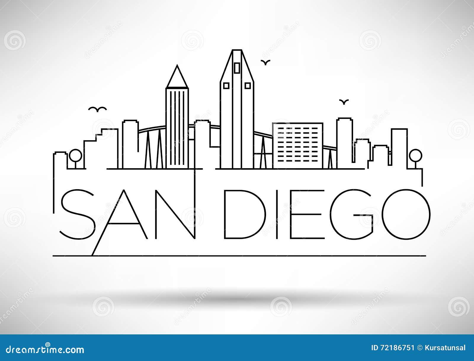 Lineair San Diego City Silhouette met Typografisch Ontwerp