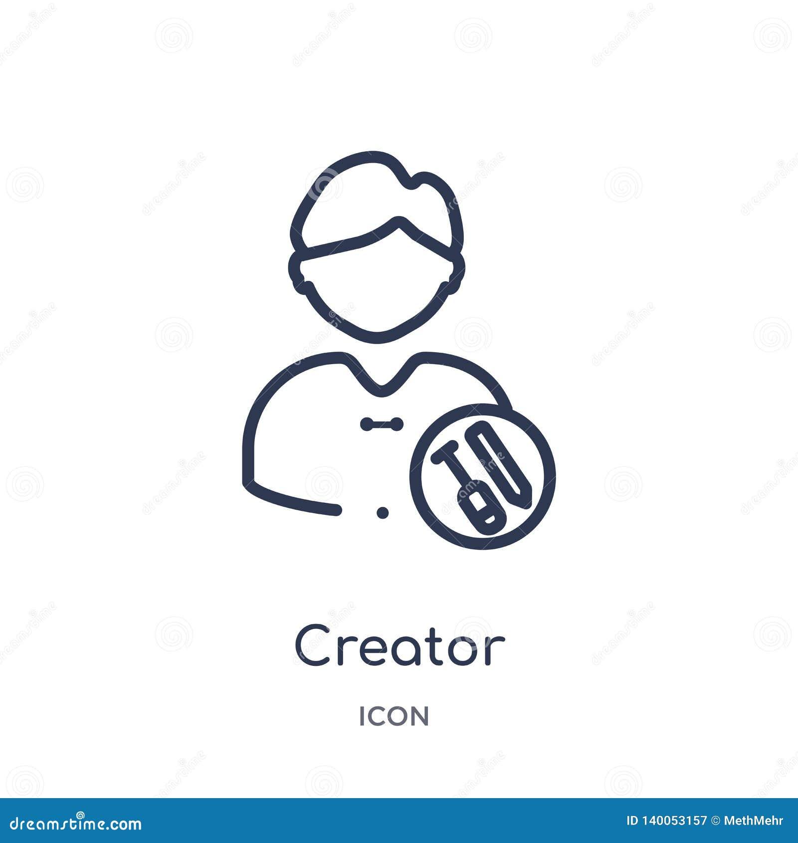 Lineair schepperpictogram van Crowdfunding-overzichtsinzameling De dunne die vector van de lijnschepper op witte achtergrond word