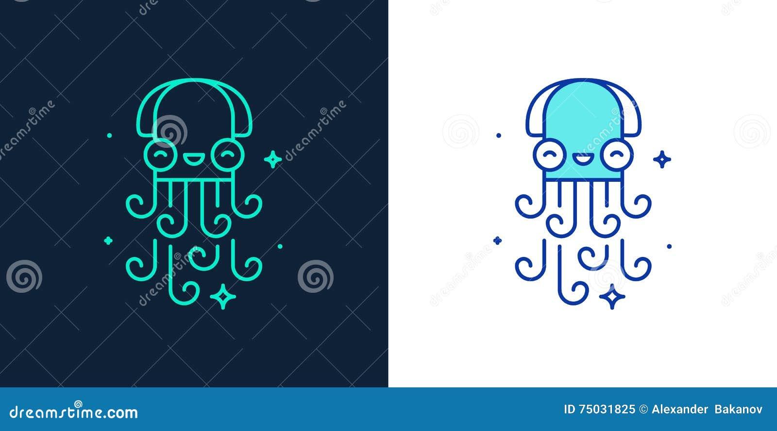 Lineair stijlpictogram van een octopusvector