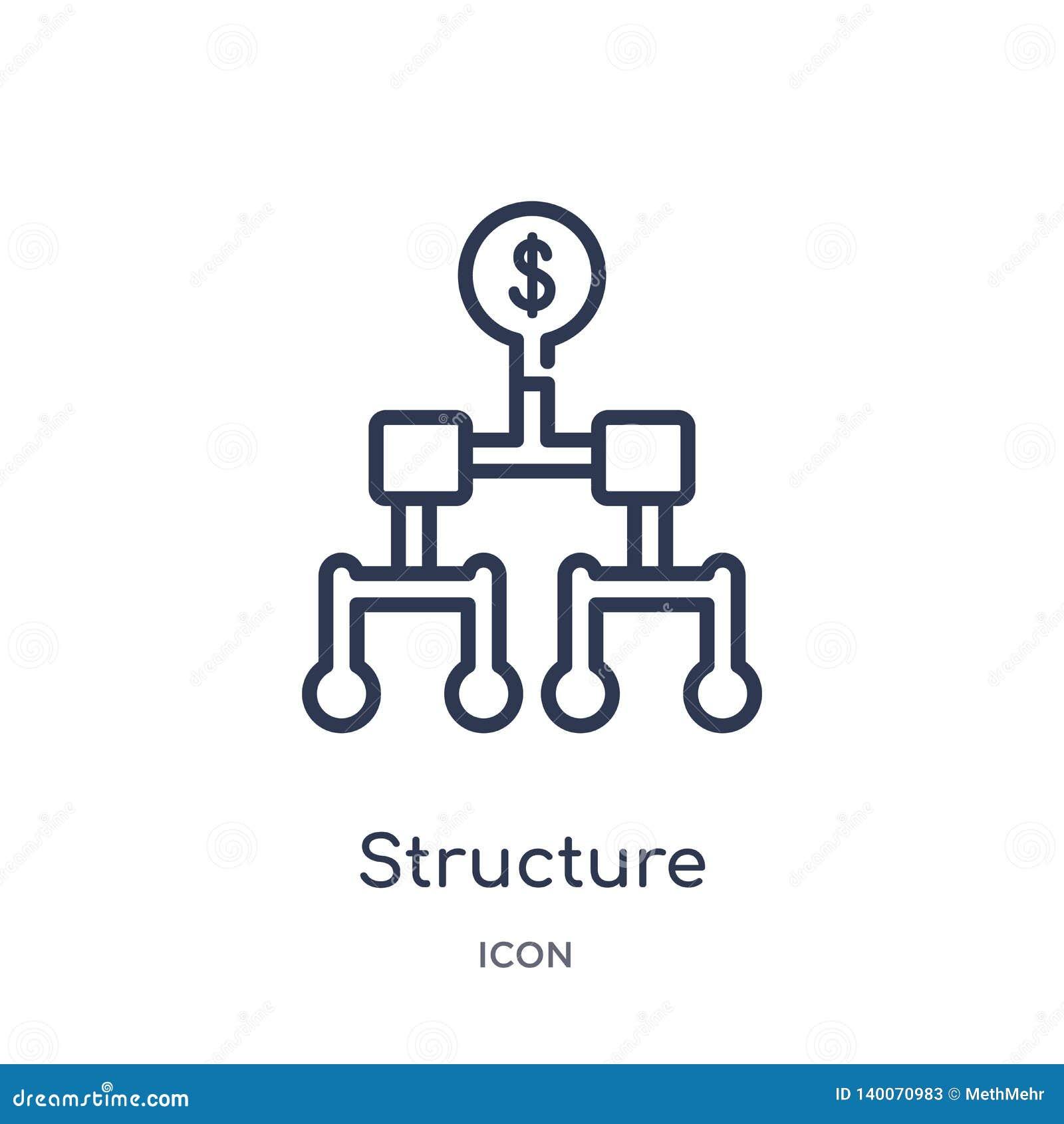 Lineair structuurpictogram van Bedrijfsoverzichtsinzameling Het dunne die pictogram van de lijnstructuur op witte achtergrond wor
