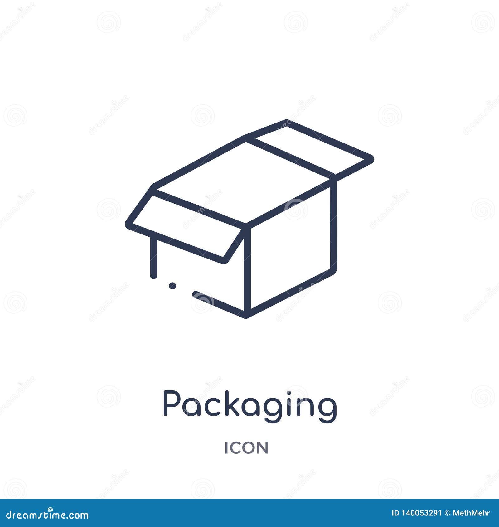 Lineair verpakkend pictogram van Crowdfunding-overzichtsinzameling Dunne die lijn verpakkingsvector op witte achtergrond wordt ge