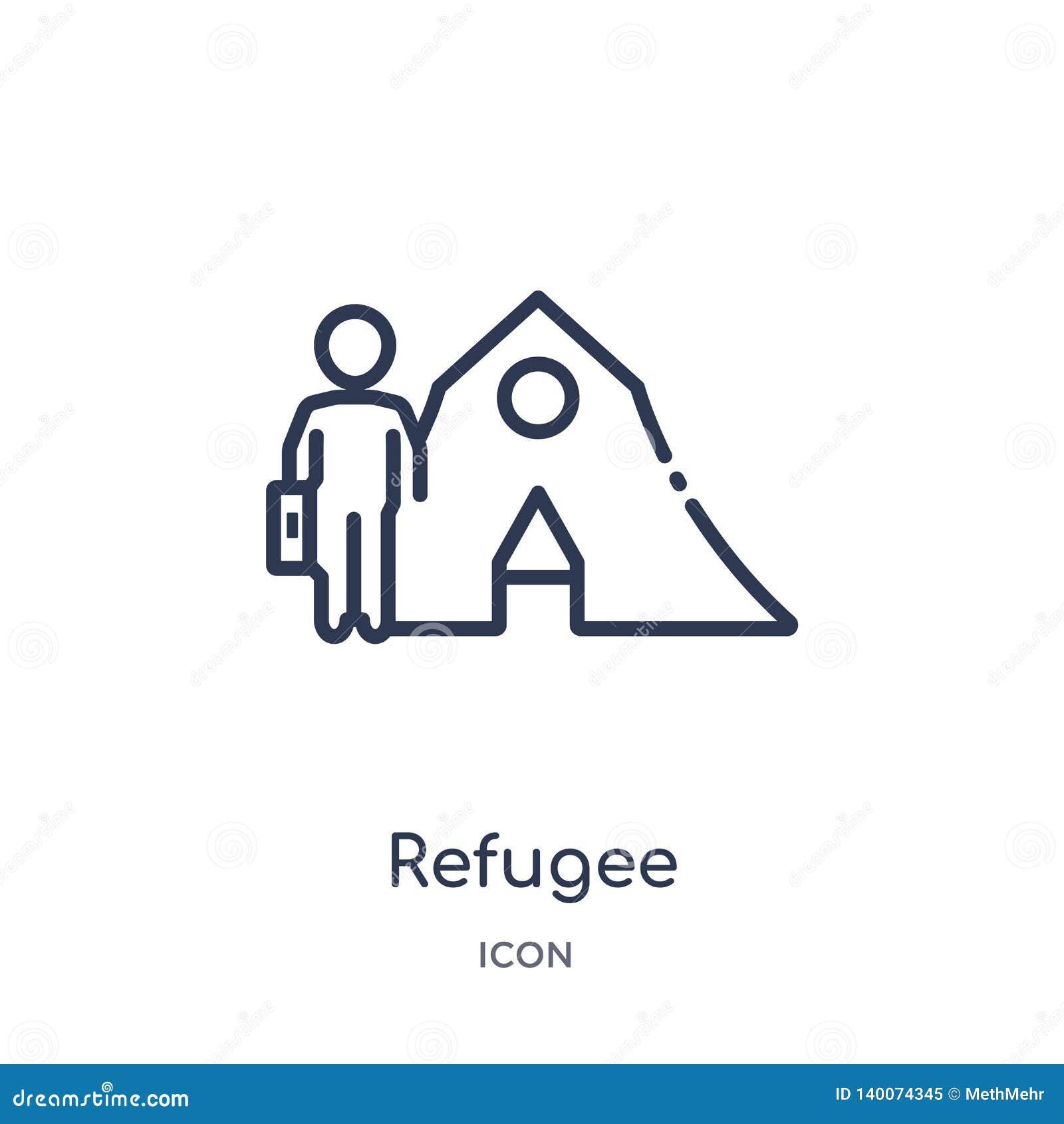 Lineair vluchtelingspictogram van Diverse overzichtsinzameling Het dunne die pictogram van de lijnvluchteling op witte achtergron