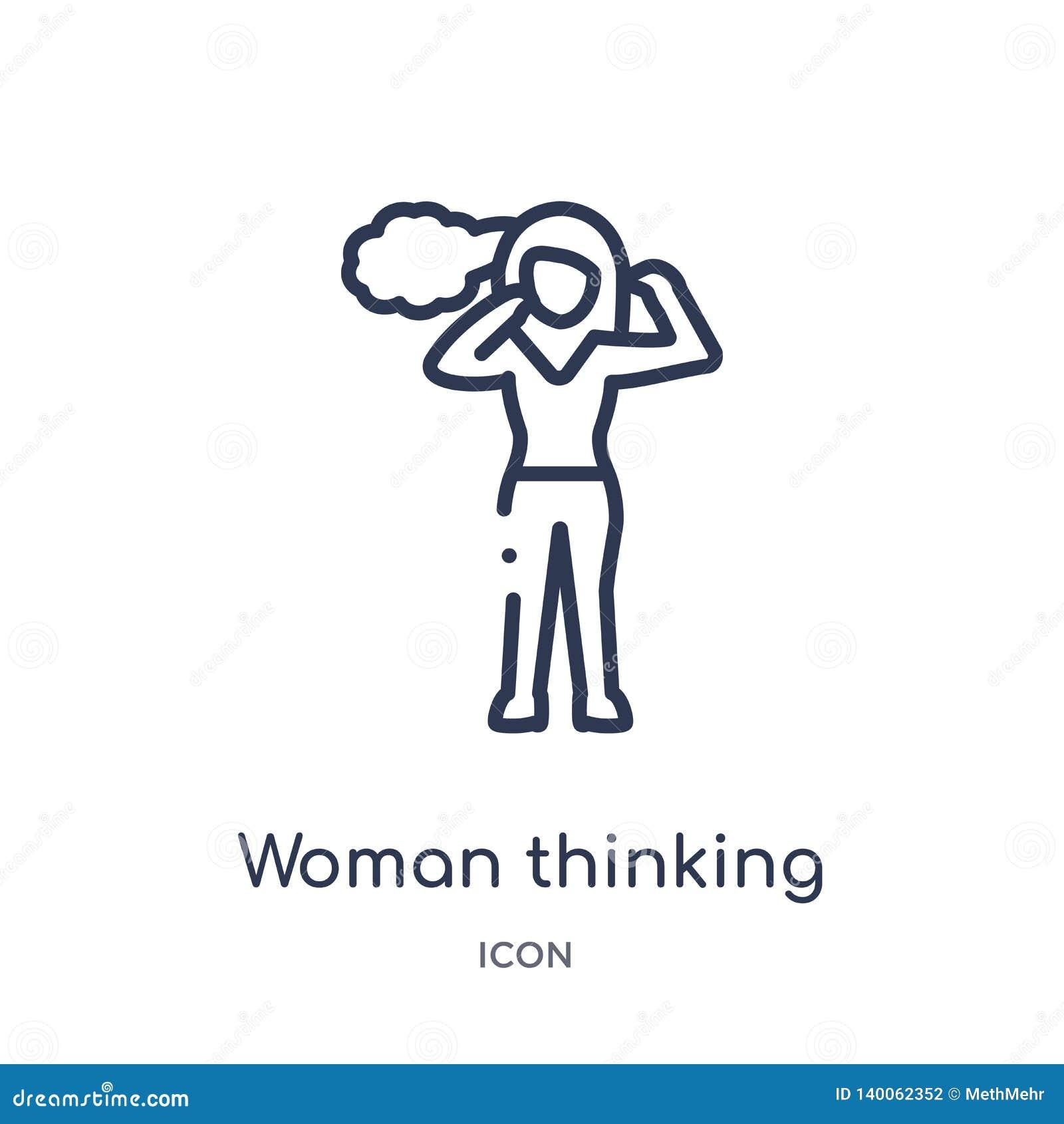 Lineair vrouw het denken pictogram van de inzameling van het Damesoverzicht Dun die lijnvrouw het denken pictogram op witte achte