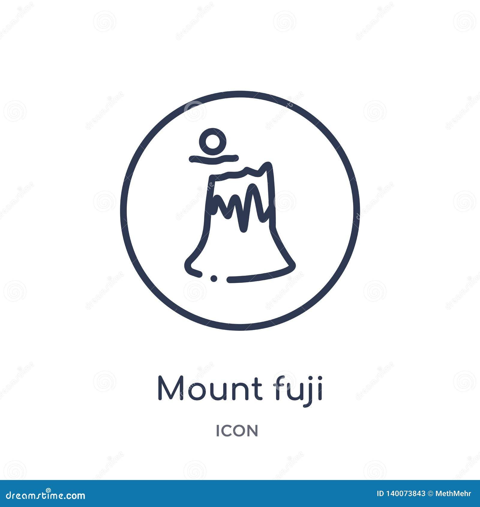Lineair zet fujipictogram van Kaarten en Vlaggenoverzichtsinzameling op De dunne die lijn zet fujipictogram op op witte achtergro