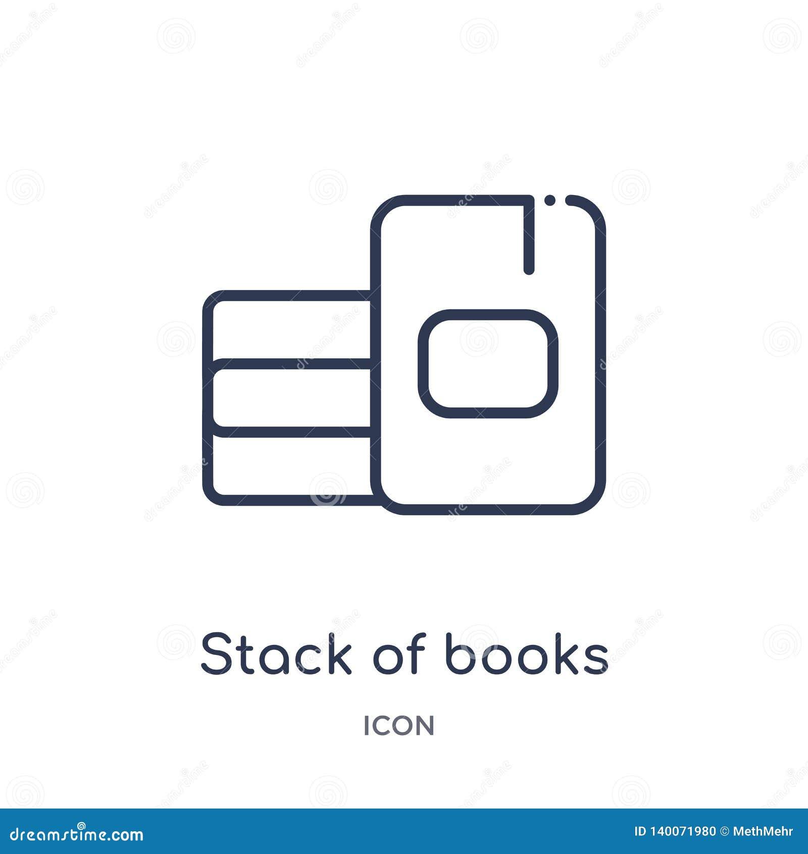 Lineaire stapel van boekenpictogram van de inzameling van het Onderwijsoverzicht Dunne die lijnstapel van boekenpictogram op witt