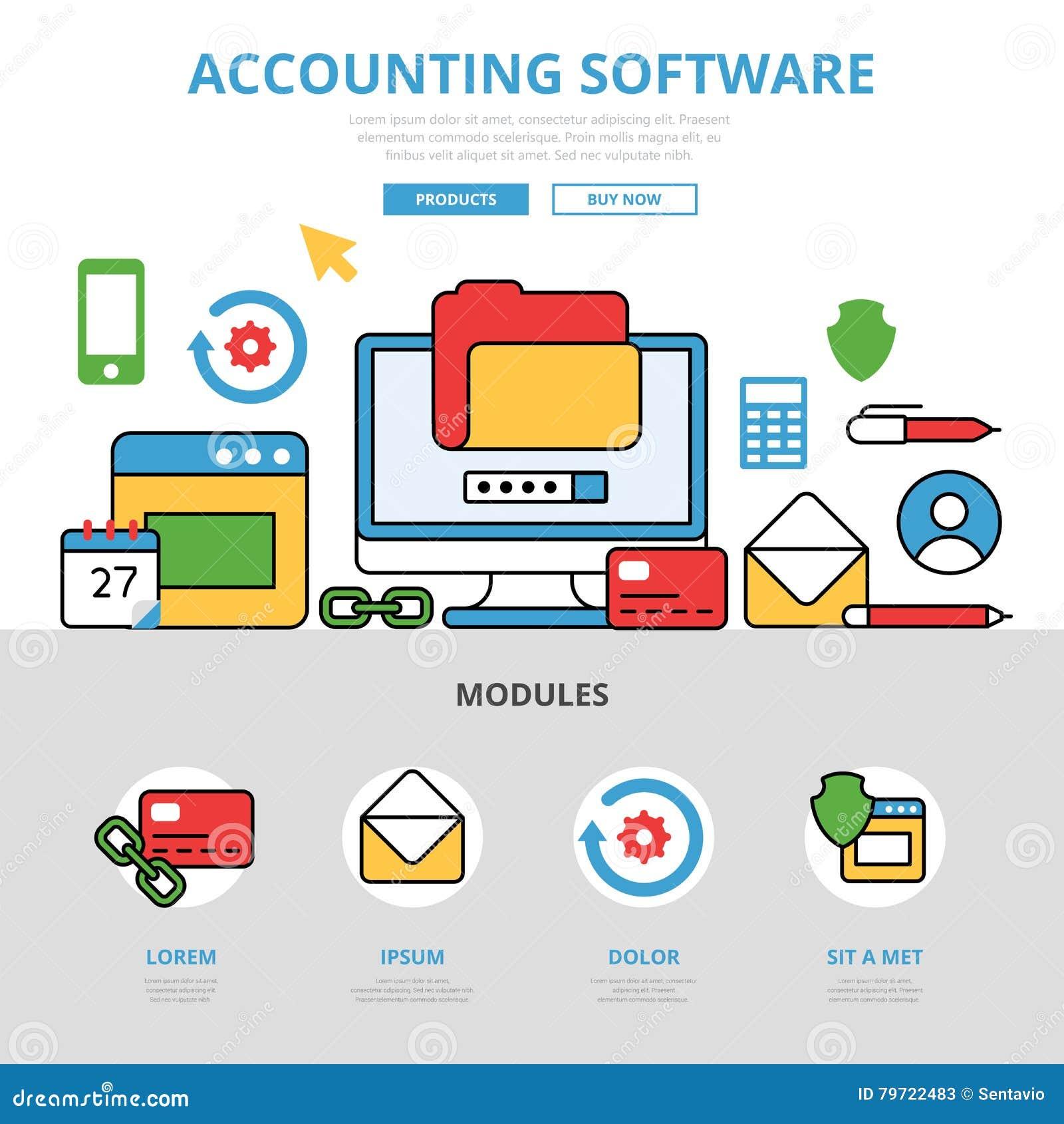 Lineaire vlakke app van de Boekhoudingssoftware infographics v