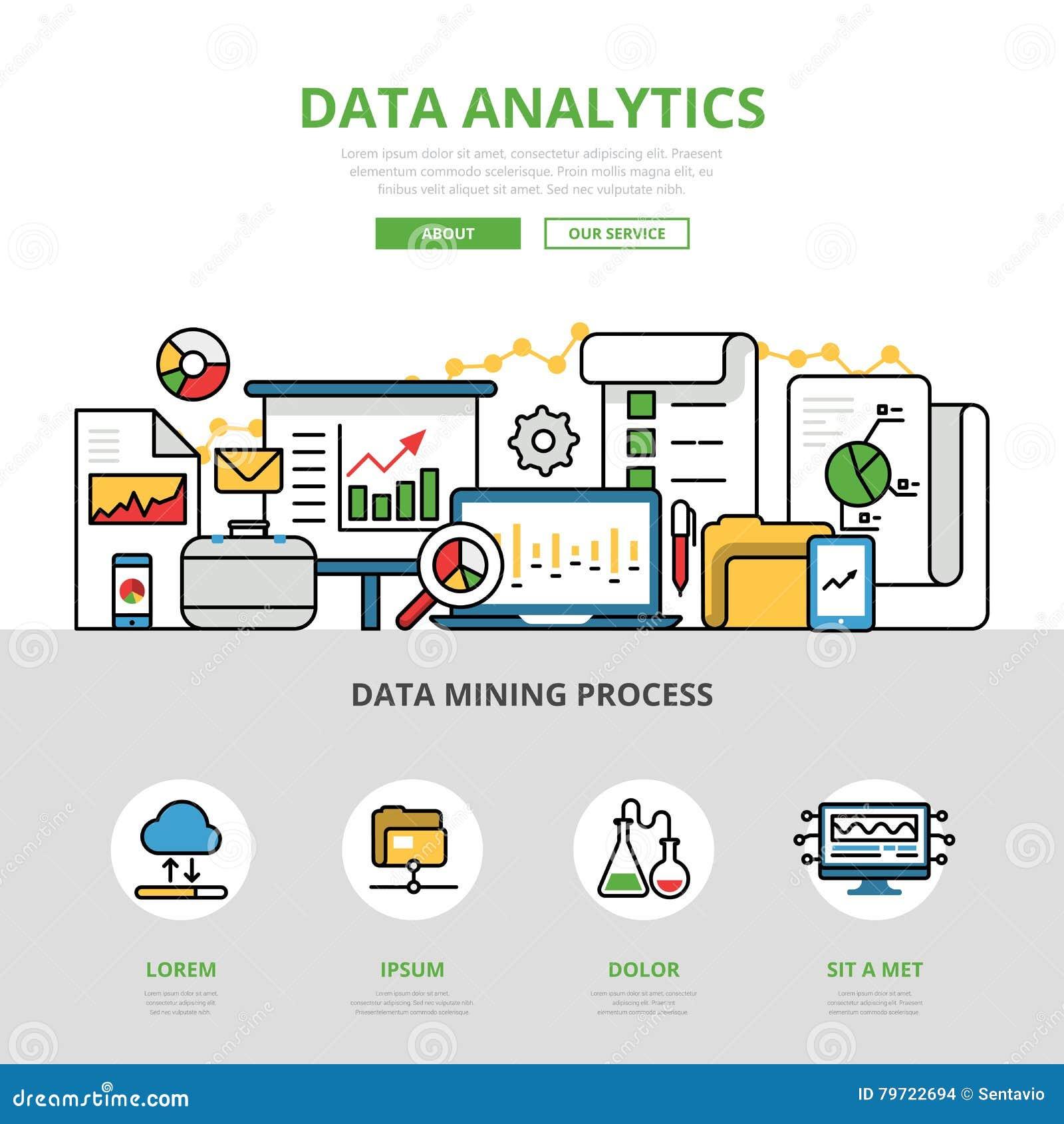 Lineaire vlakke infographics v van bedrijfsgegevensanalytics