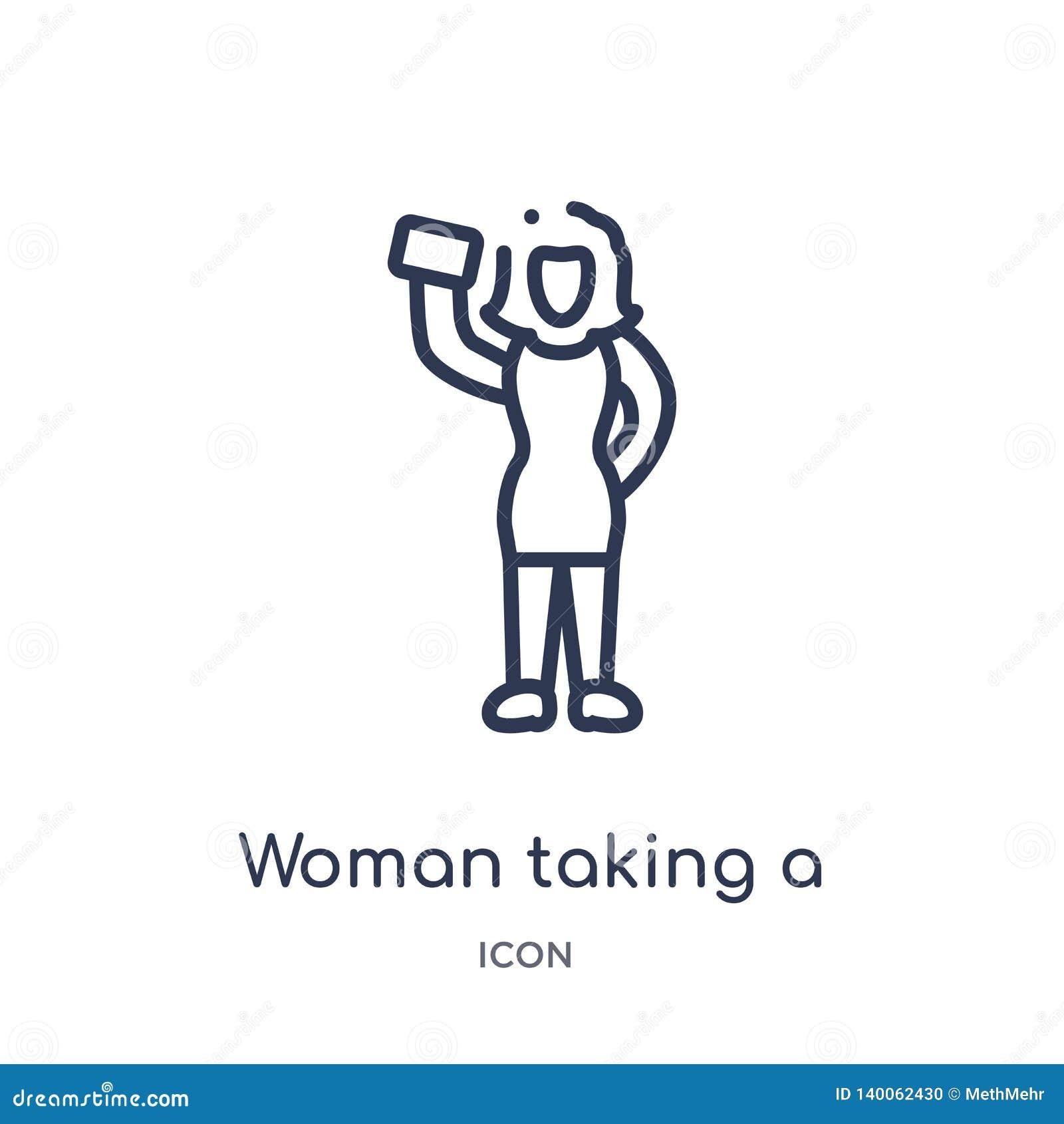 Lineaire vrouw die een selfiepictogram van de inzameling van het Damesoverzicht nemen Dunne lijnvrouw die die een selfiepictogram