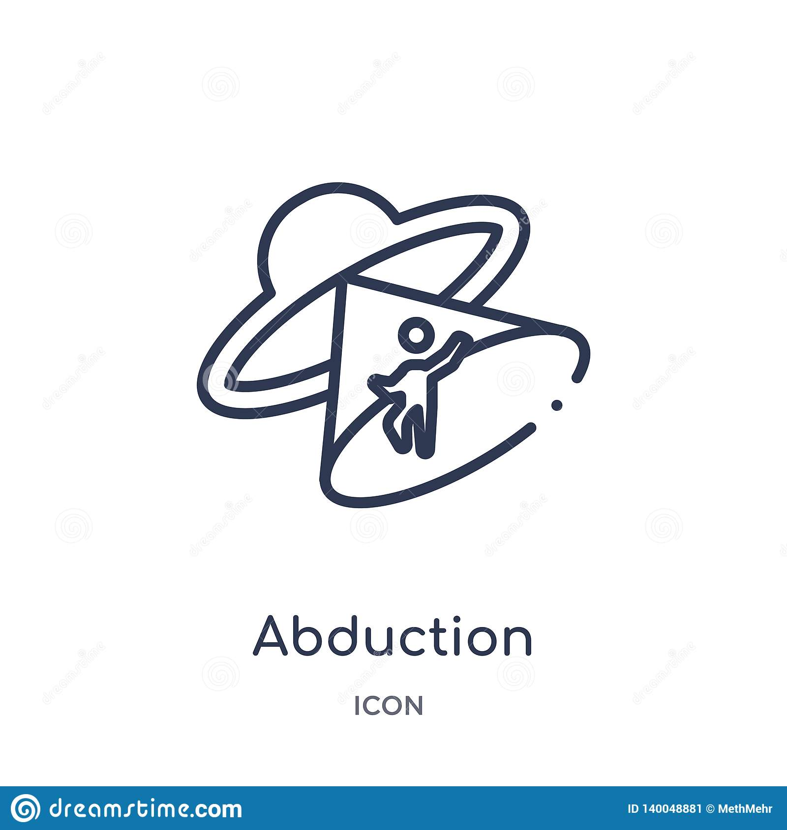 Linear abduction icon from Astronomy outline collection. Thin line abduction vector isolated on white background. abduction trendy