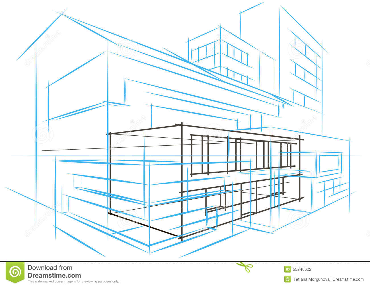 Linear architectural sketch concept abstract building for Linear organization in architecture