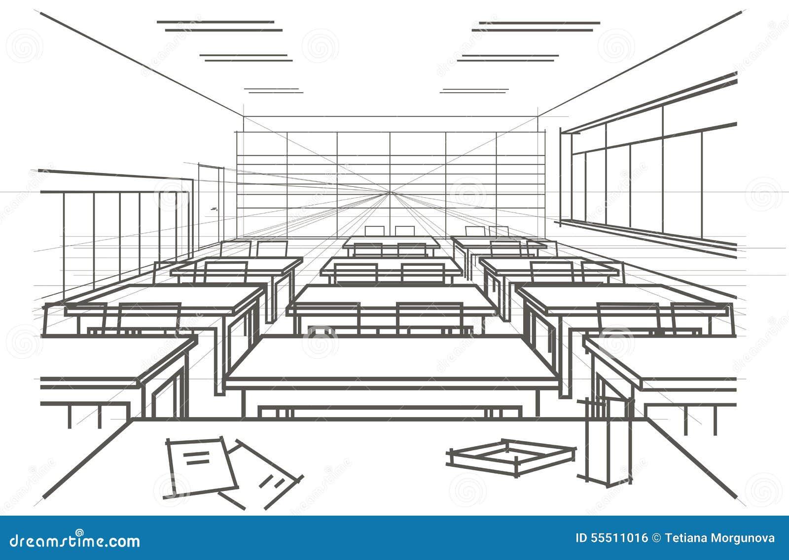 Architectural sketch interior classroom stock vector image 55511016