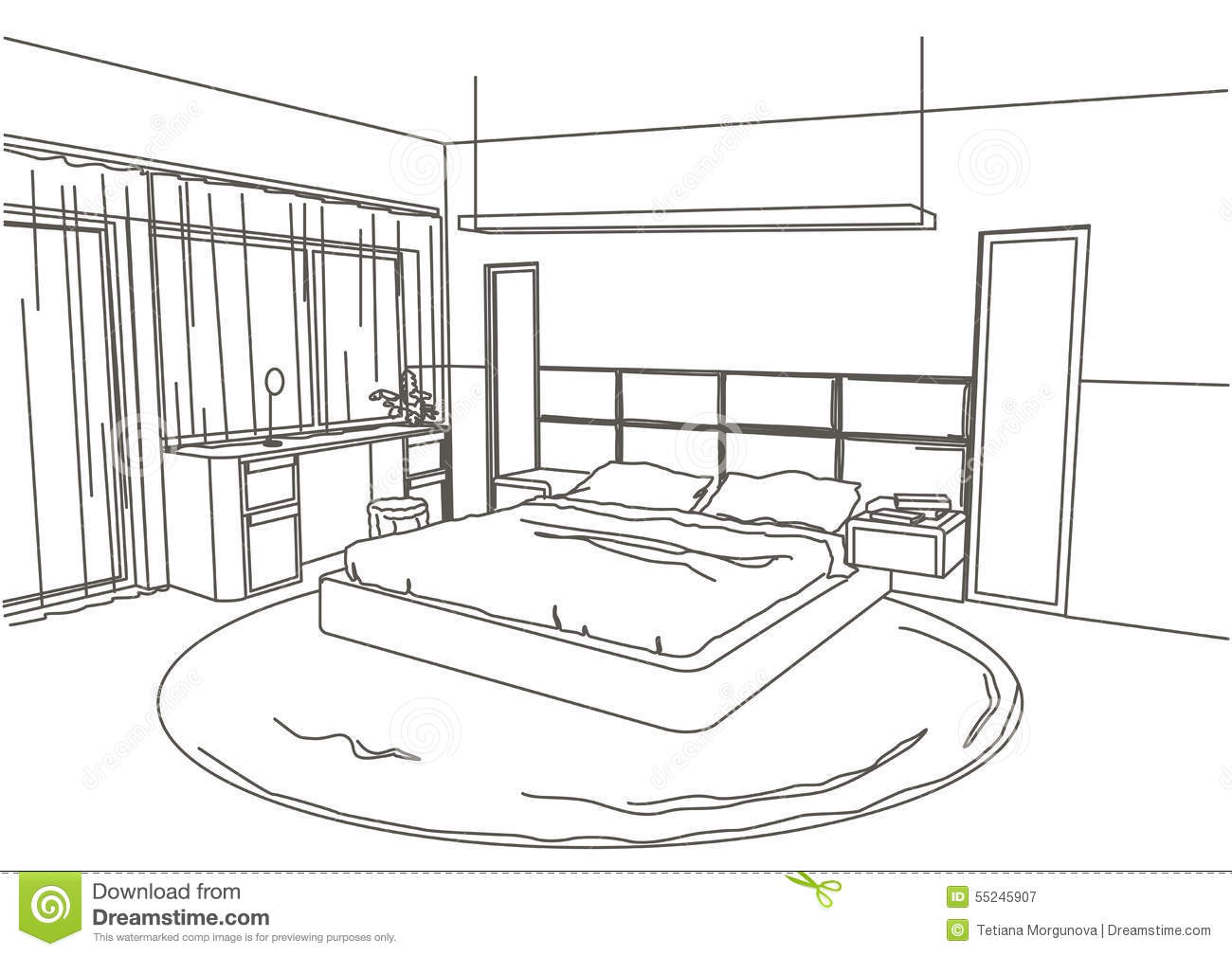 Linear architectural sketch interior modern bedroom stock for Bedroom designs sketch