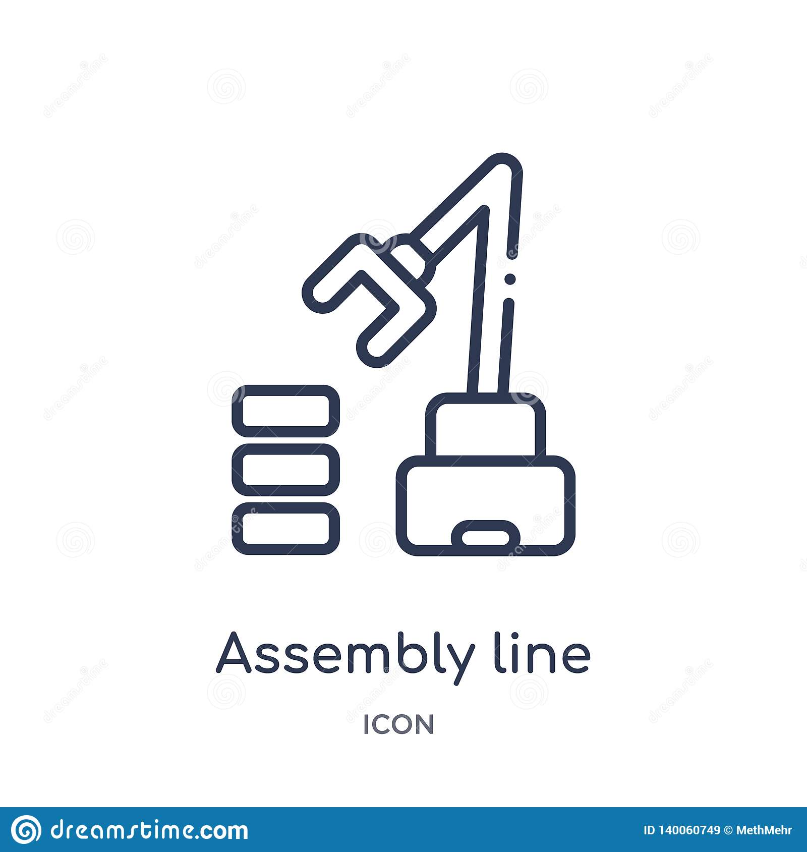 Linear assembly line icon from Industry outline collection. Thin line assembly line icon isolated on white background. assembly