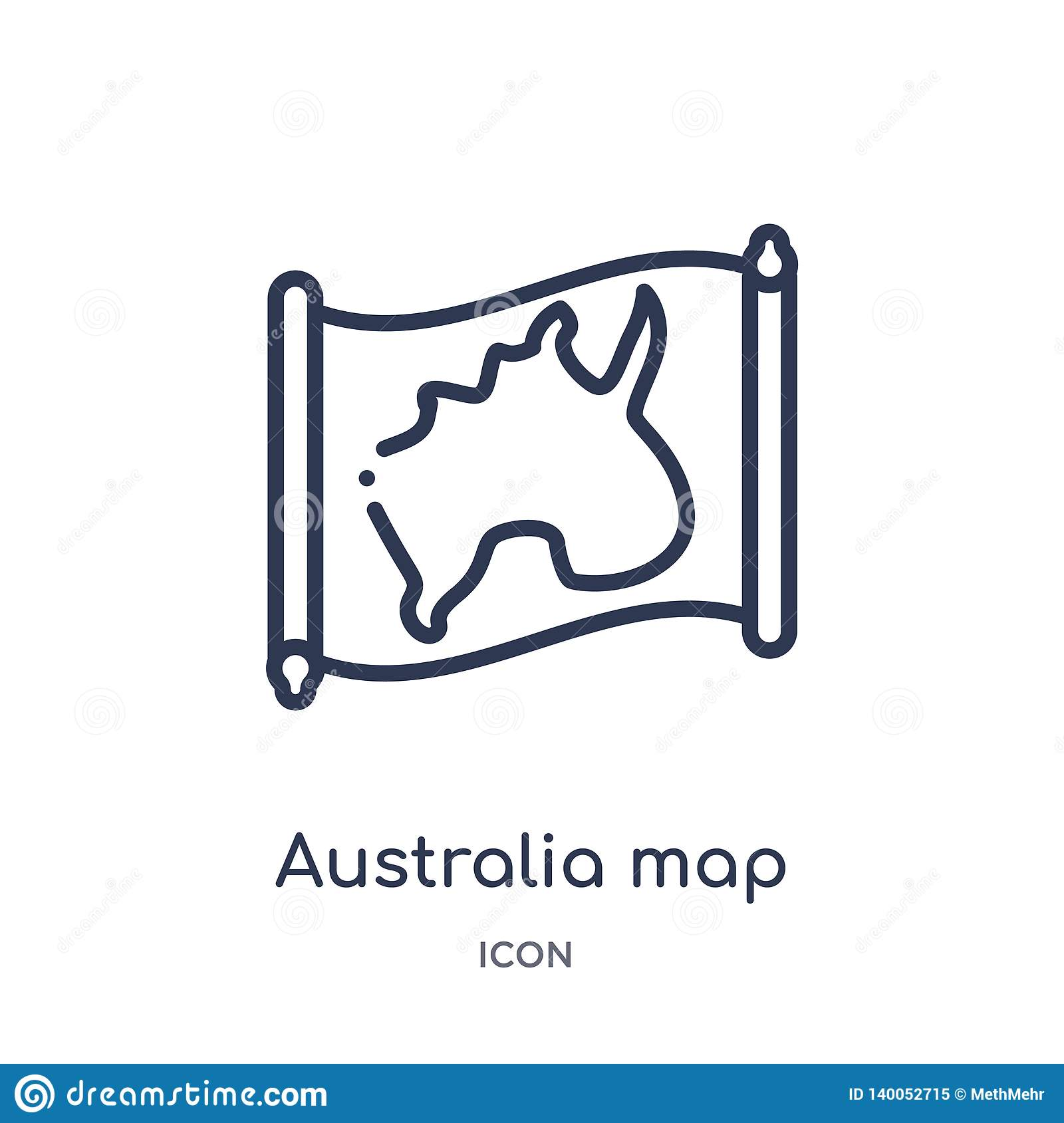 Linear australia map icon from Countrymaps outline collection. Thin line australia map vector isolated on white background.